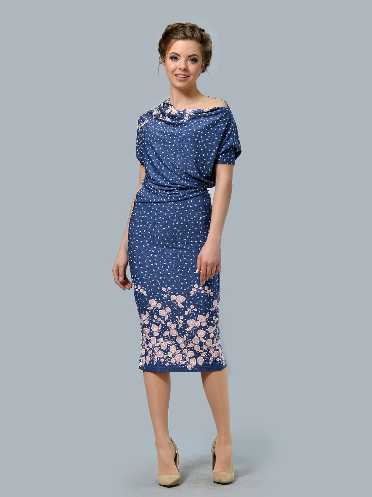 Сукня синя в квітковий принт | 5621003