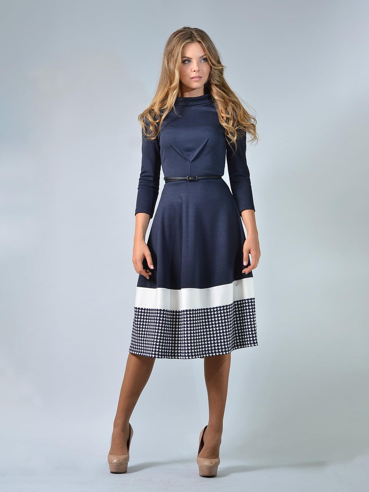 Сукня синя в «гусячу лапку» | 5620828
