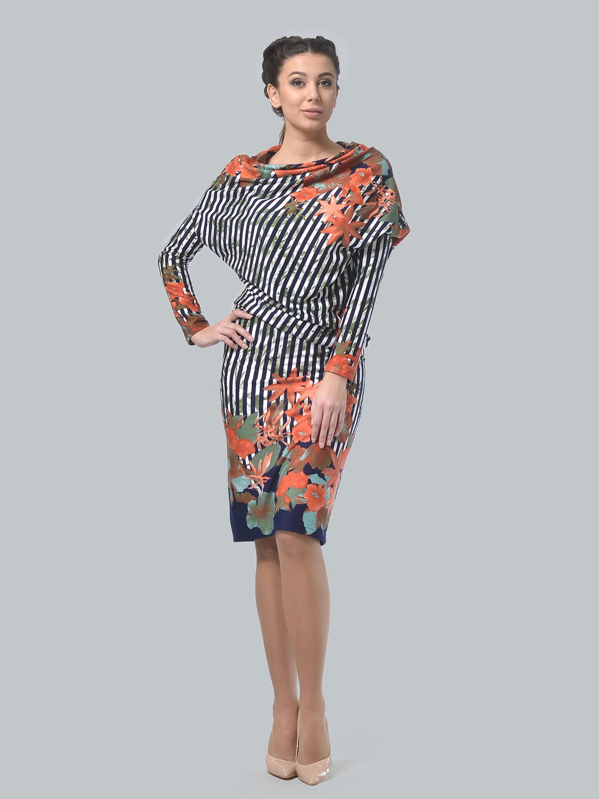 Сукня в квітковий принт і в смужку | 5620839