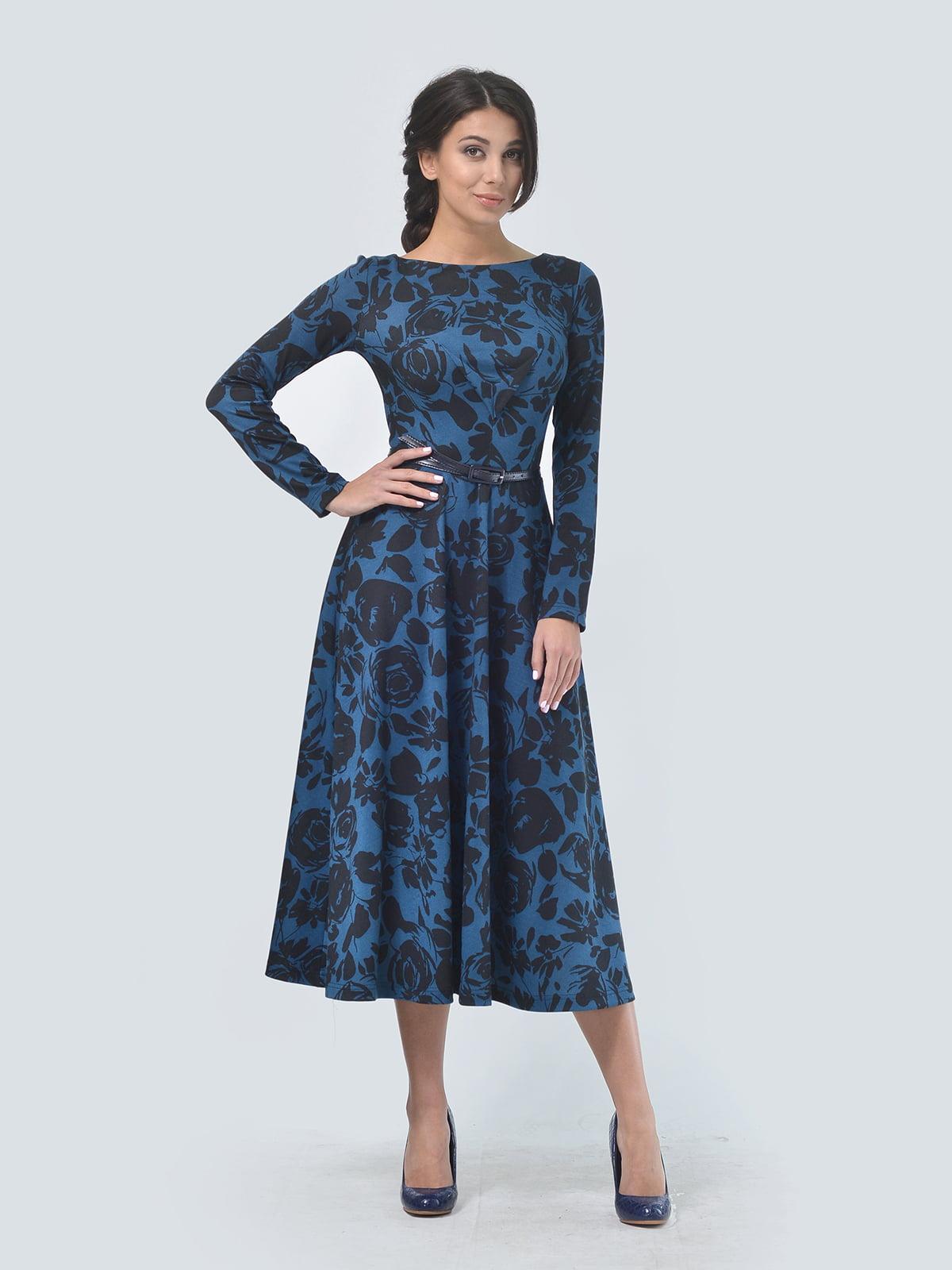 Сукня синя в квітковий принт | 5620861