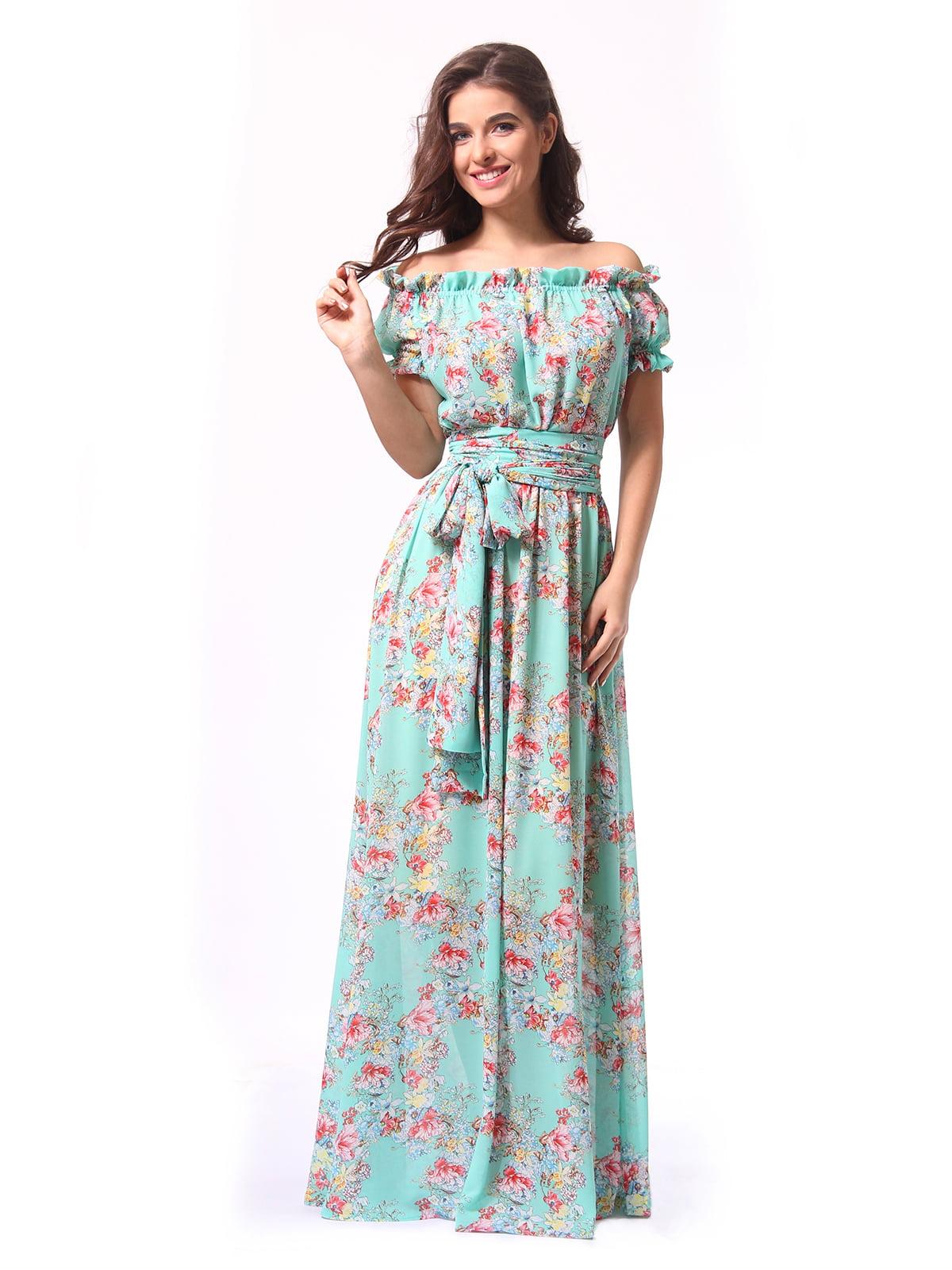 Сукня бірюзова в квітковий принт   5620988