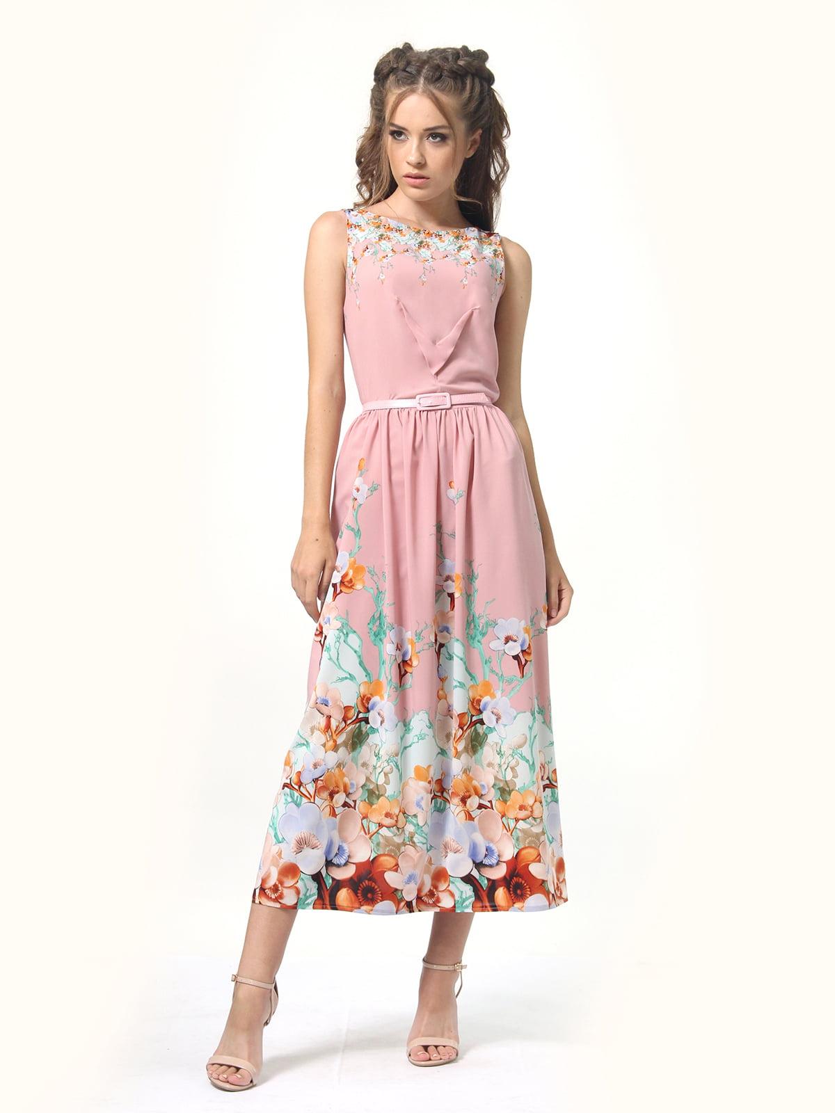 Сукня рожевого кольору в квітковий принт | 5621030
