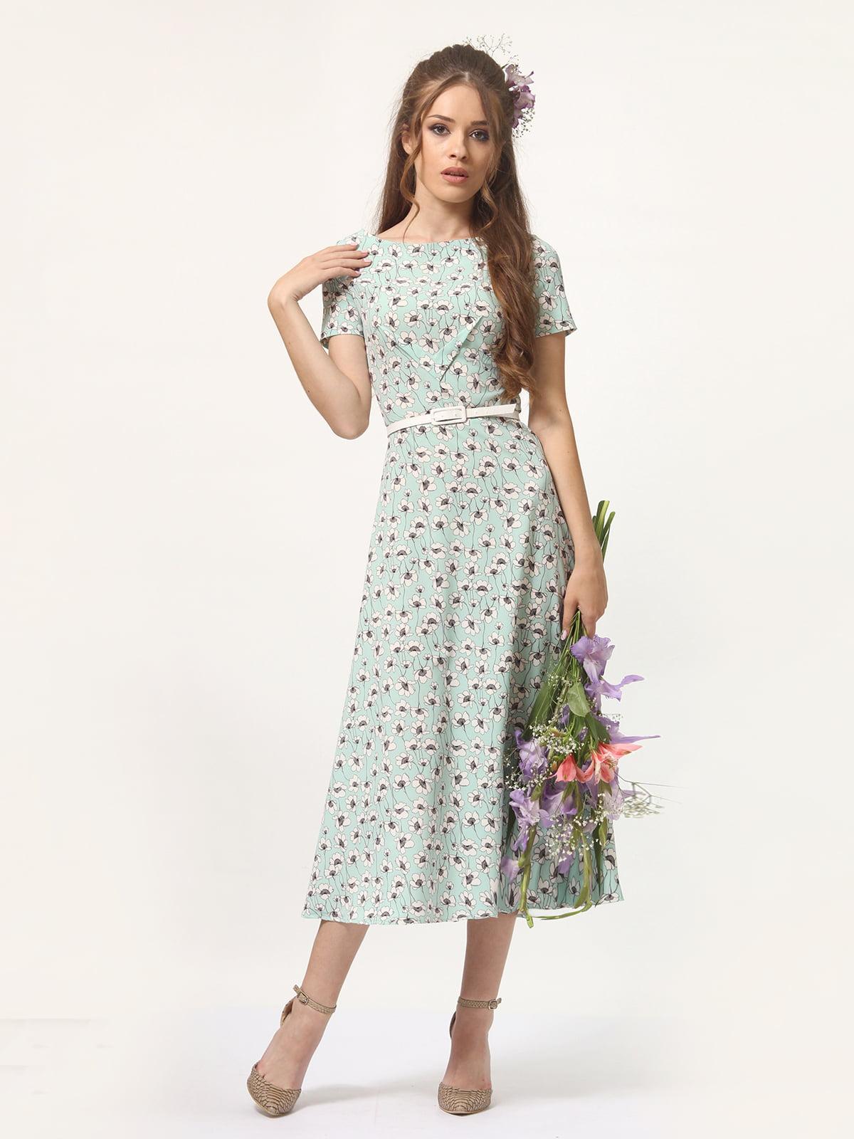 Сукня м'ятного кольору в квітковий принт | 5621041