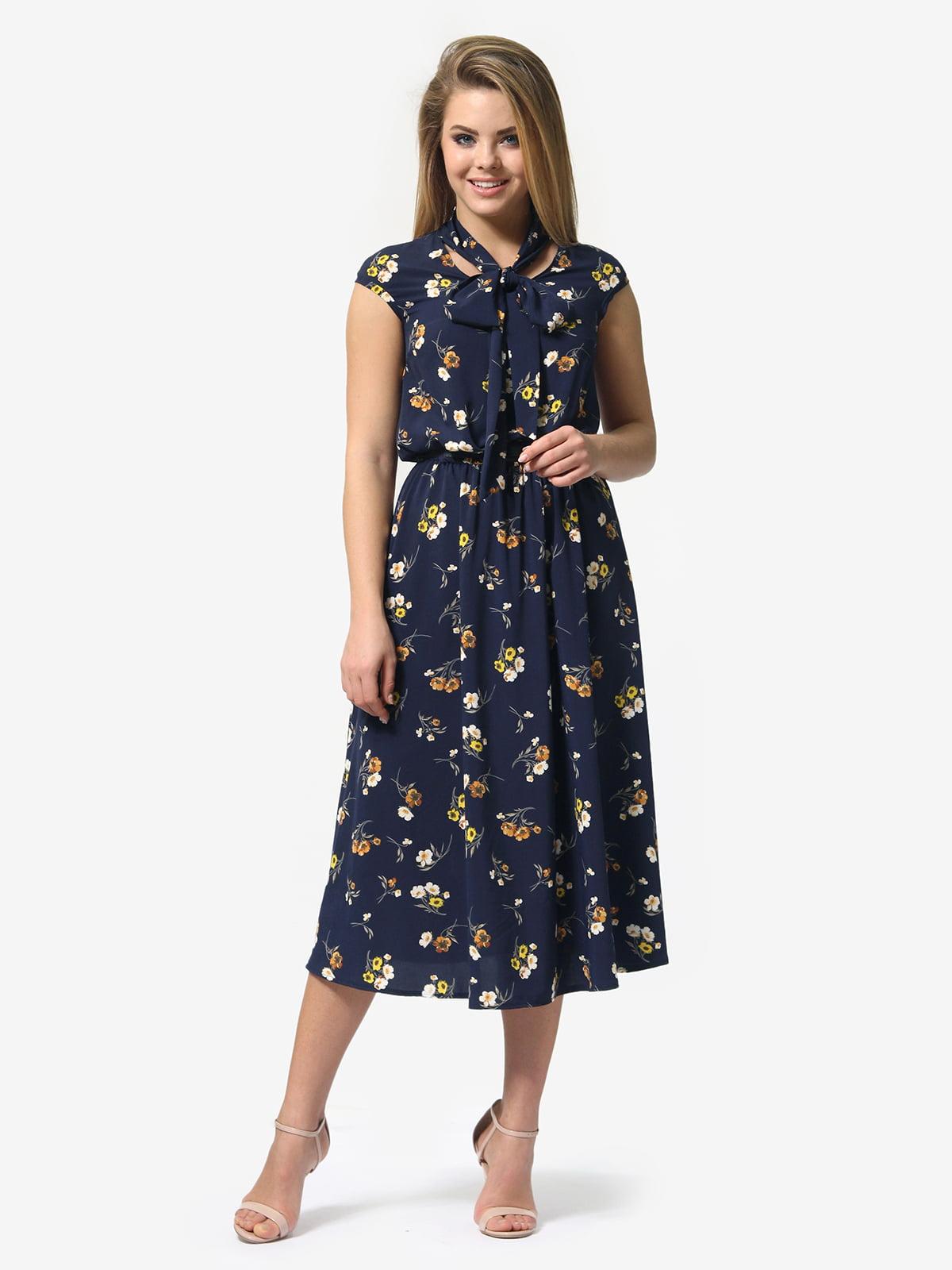 Сукня синя в квітковий принт | 5621076