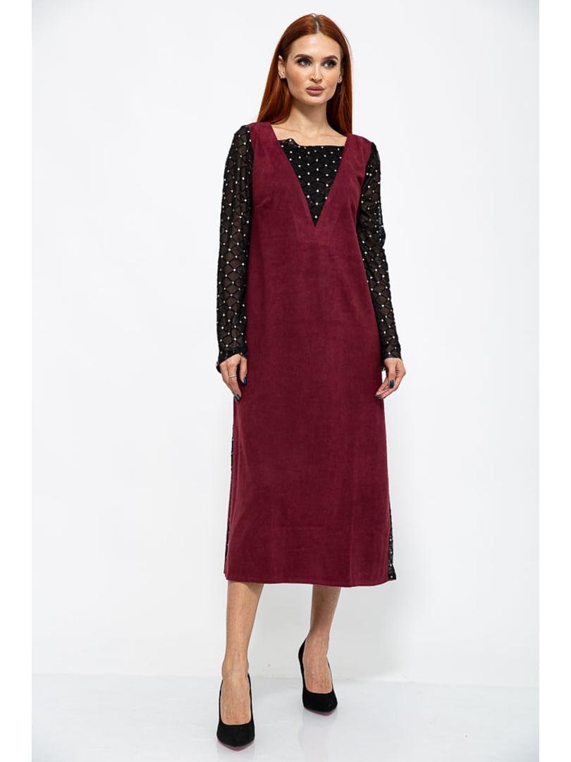 Платье черно-бордовое в ромбы | 5299205