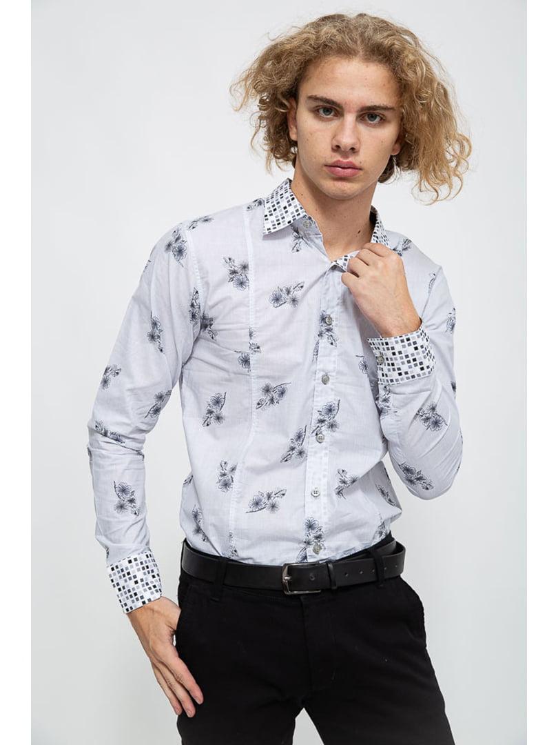 Рубашка серо-белого цвета в цветочный принт   5625143