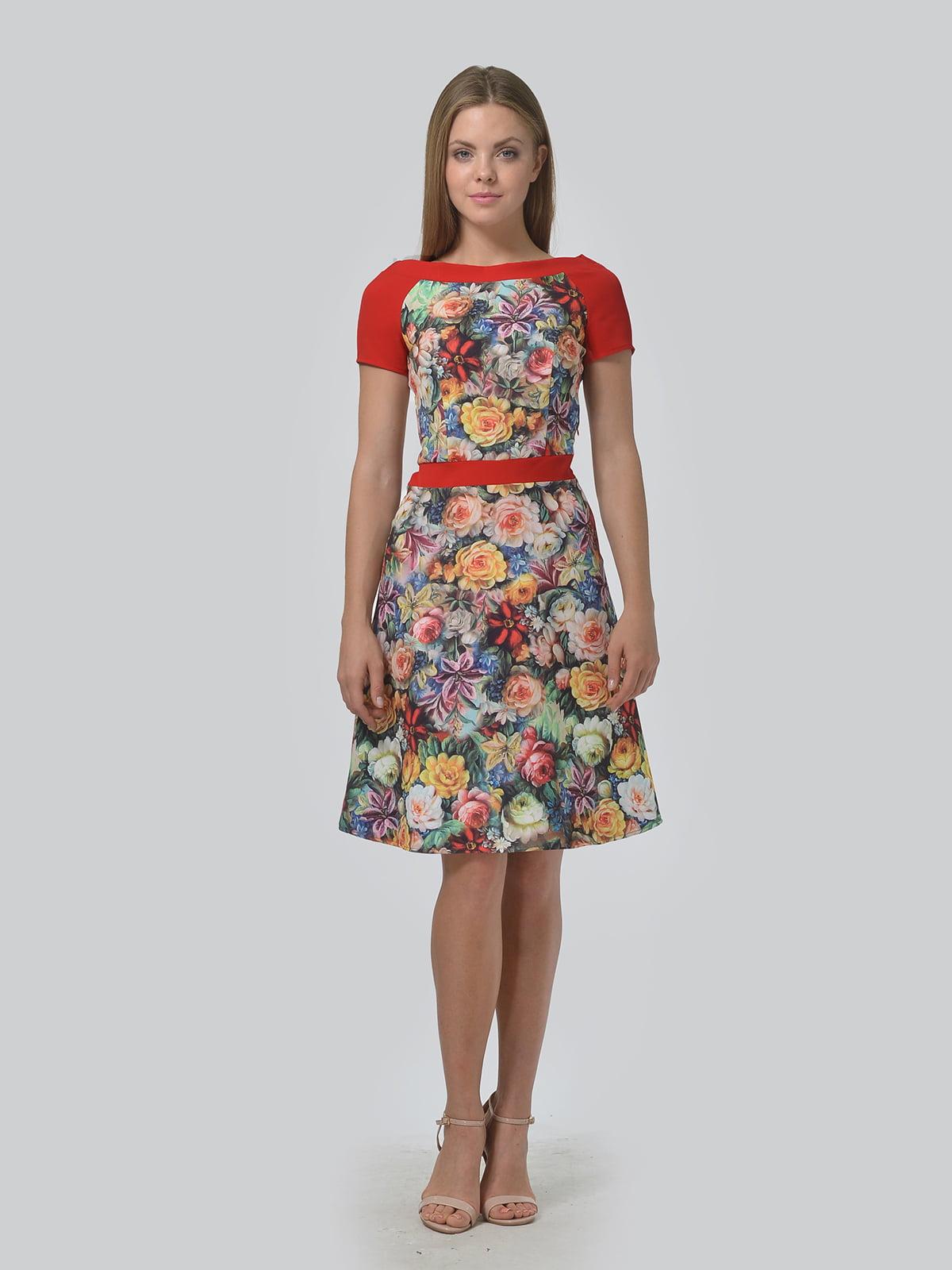 Сукня червона з квітковим принтом   5625973