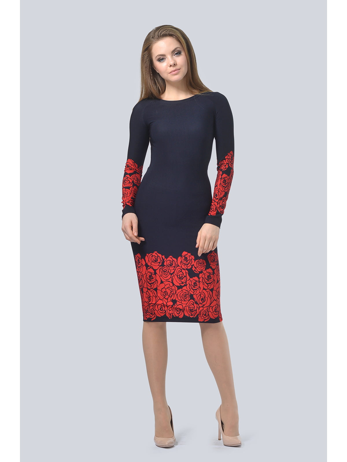 Сукня темно-синя з квітковим принтом | 5626438
