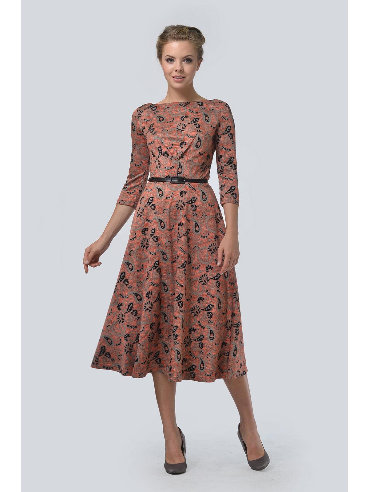 Сукня кавового кольору з принтом | 5626444