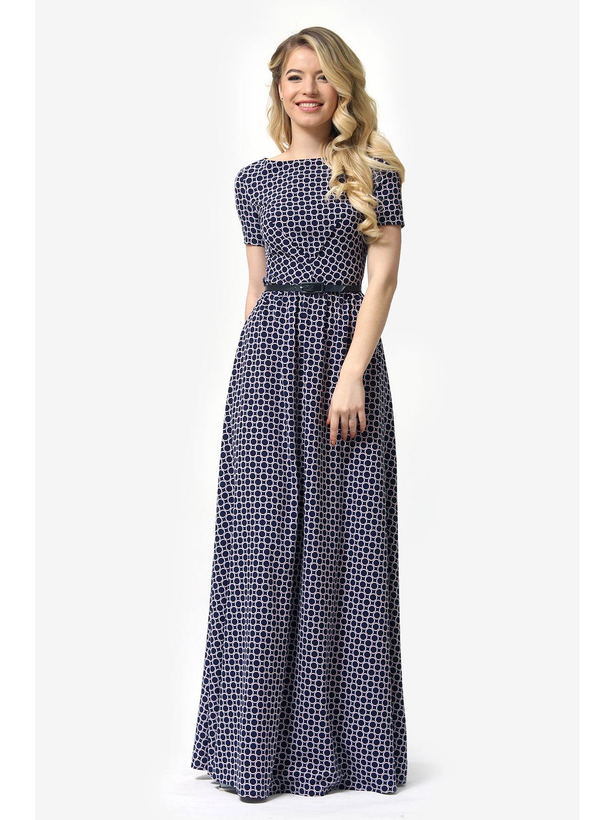 Сукня темно-синя з принтом | 5626476