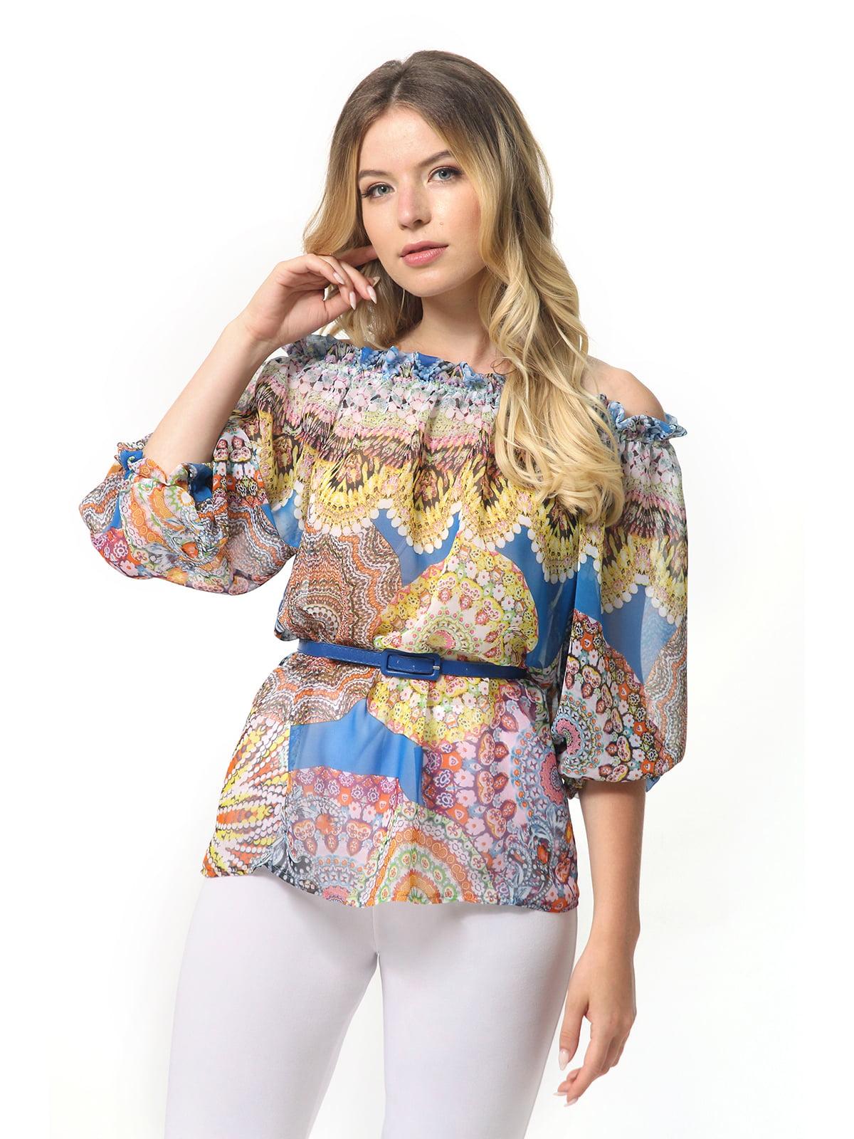 Блуза синя в принт | 5626483