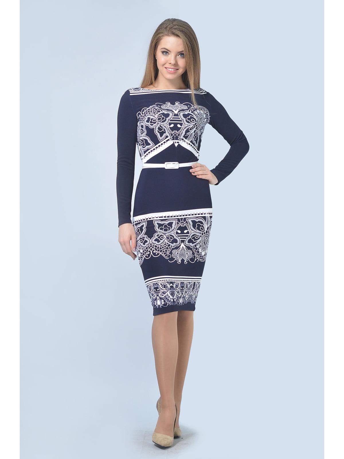 Сукня синя з принтом | 5626578