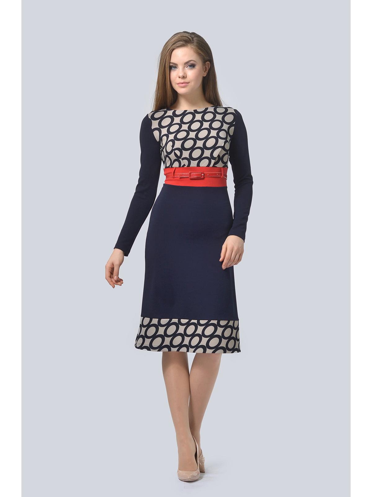 Сукня темно-синя з принтом | 5626586