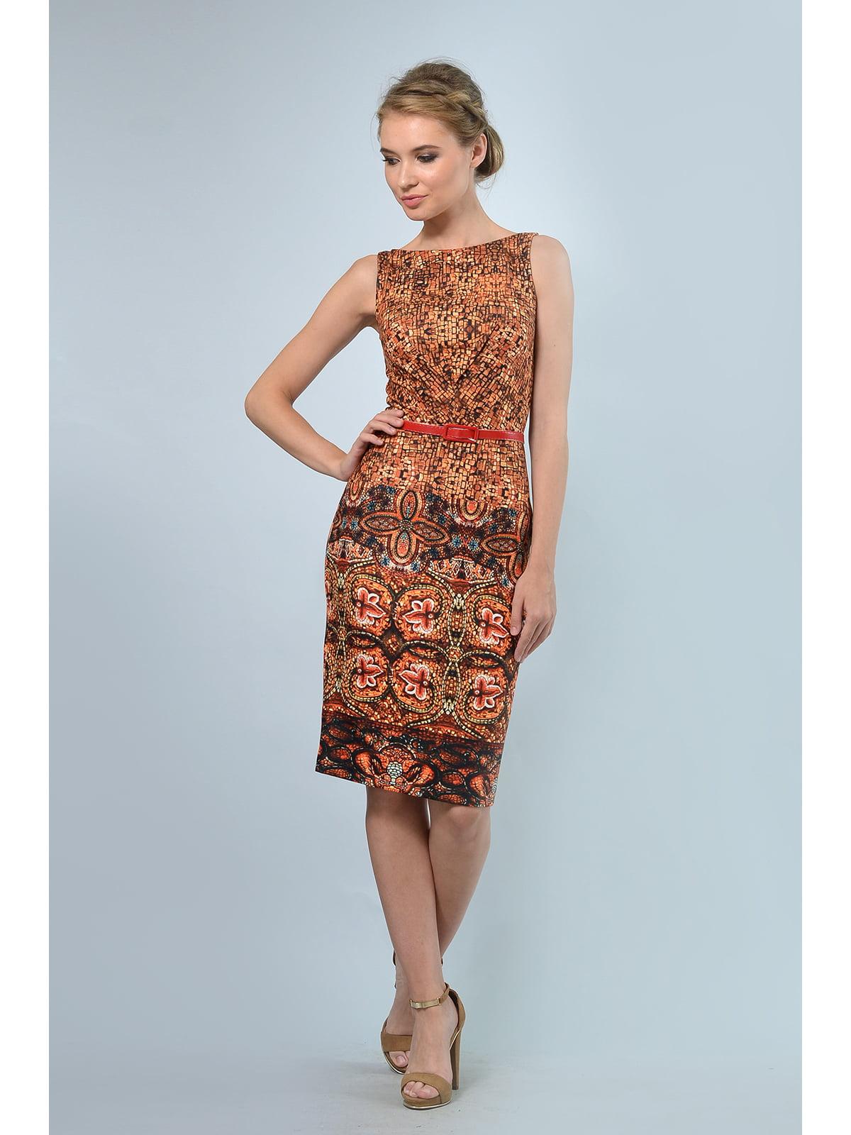 Сукня помаранчева з принтом | 5626629