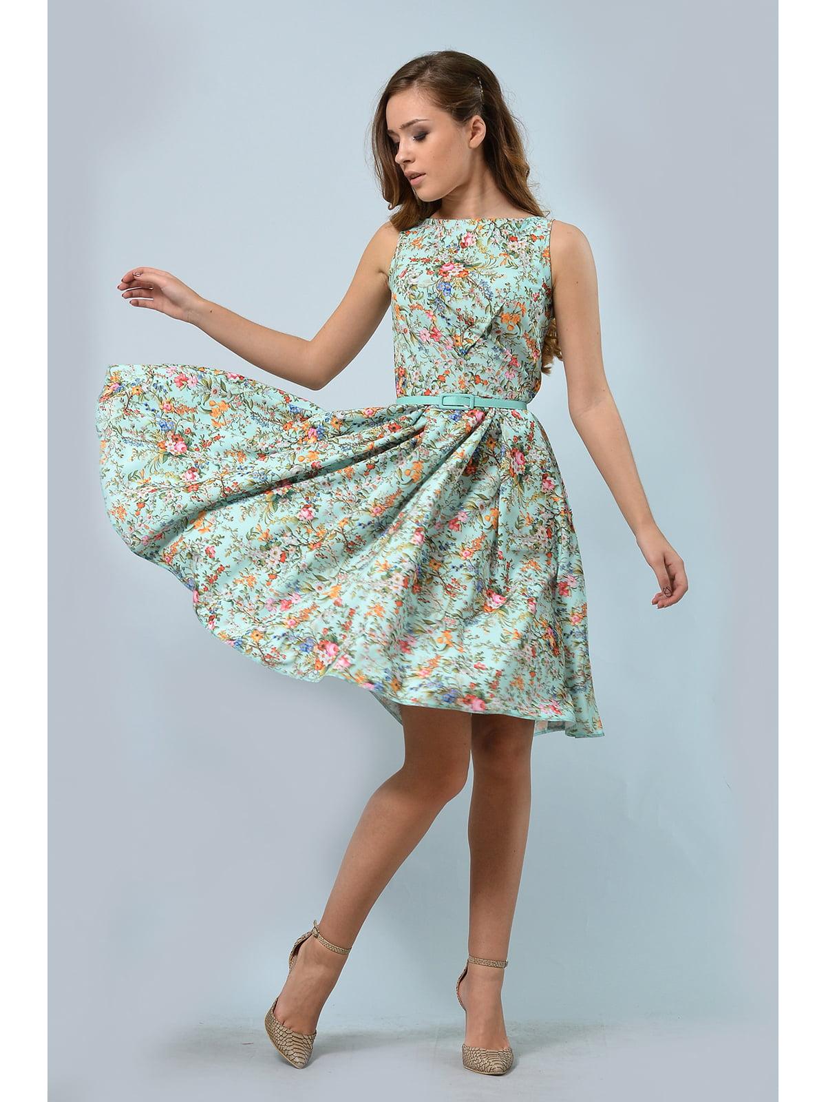 Сукня салатова з квітковим принтом | 5626638