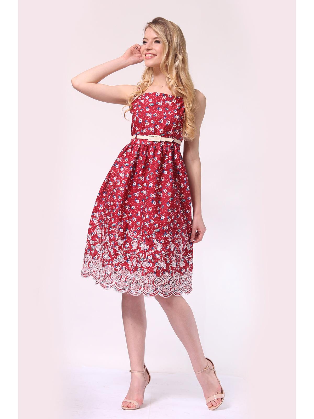 Сукня малинова з квітковим принтом | 5626643