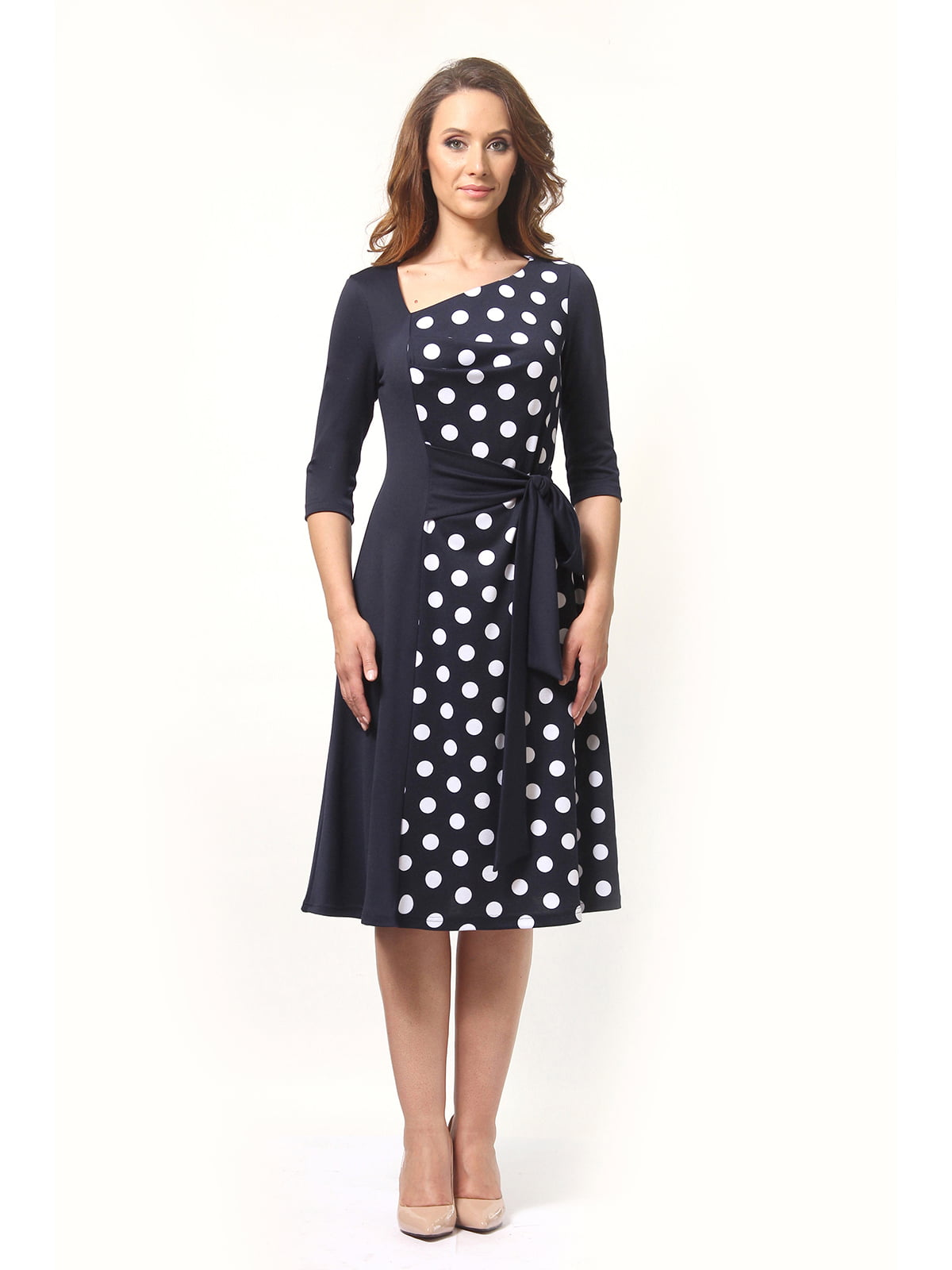 Платье темно-синее в горох | 5626803