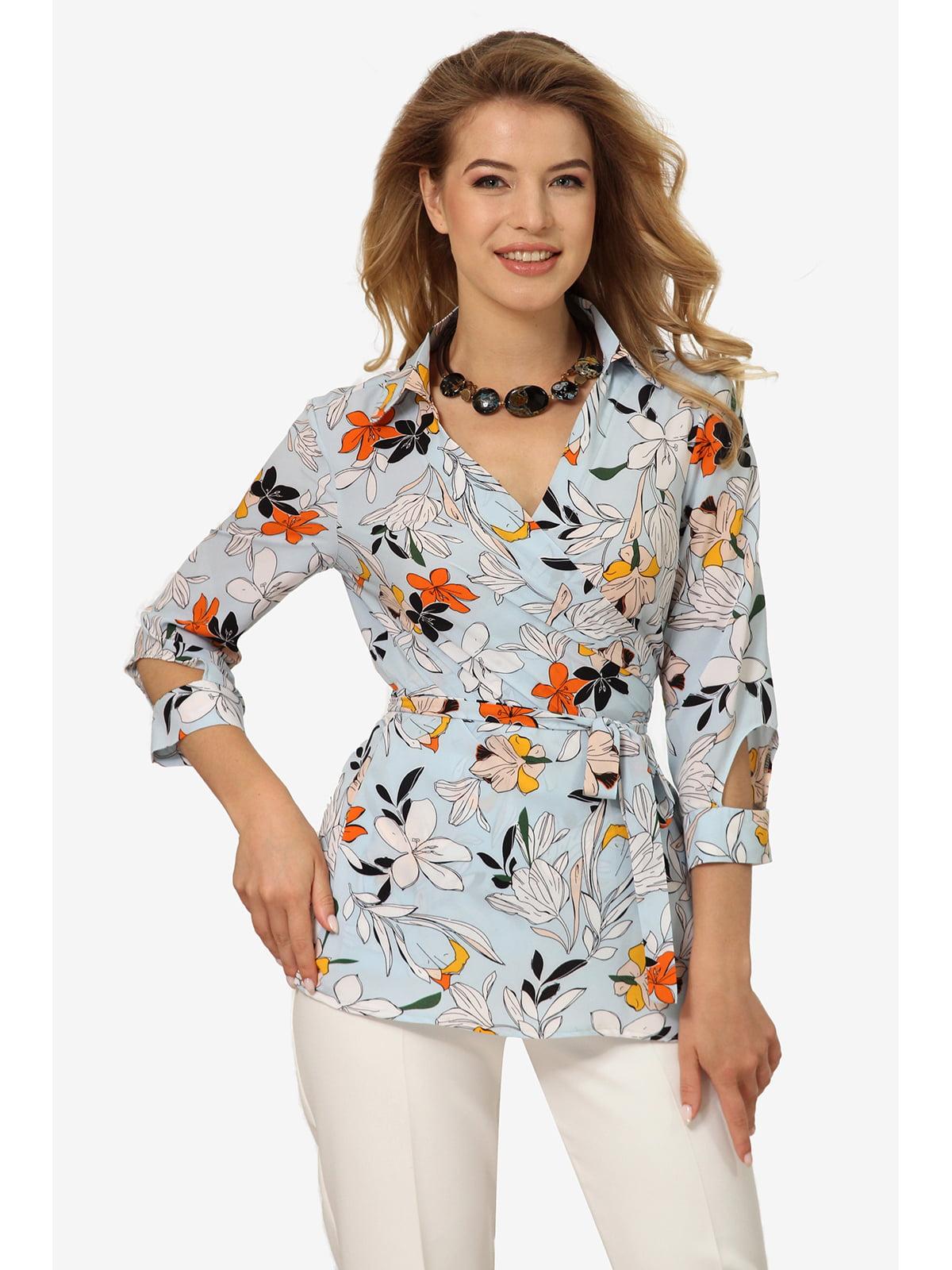Блуза блакитна з квітковим принтом | 5627057