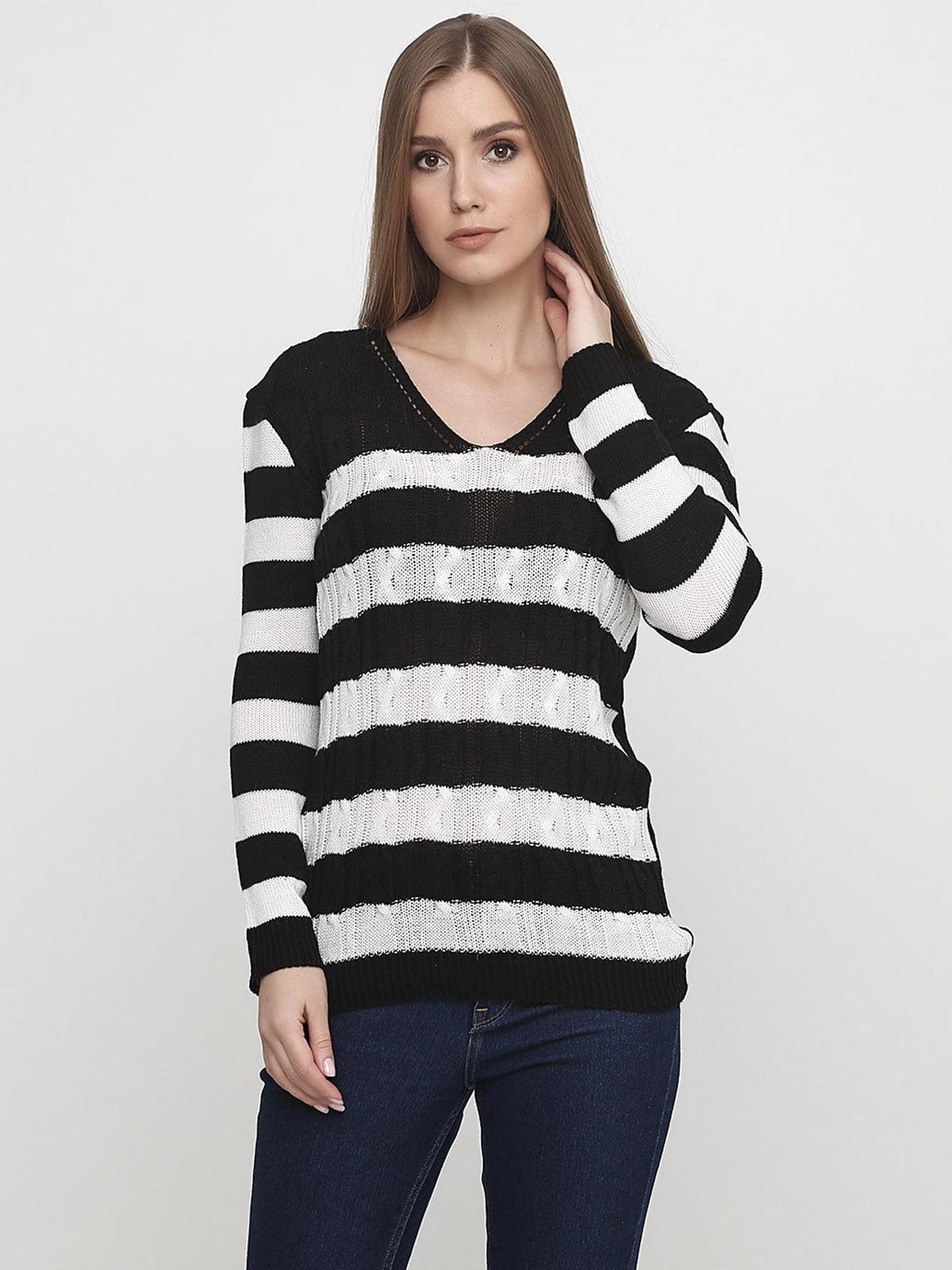 Пуловер чорно-білий в смужку | 5628543