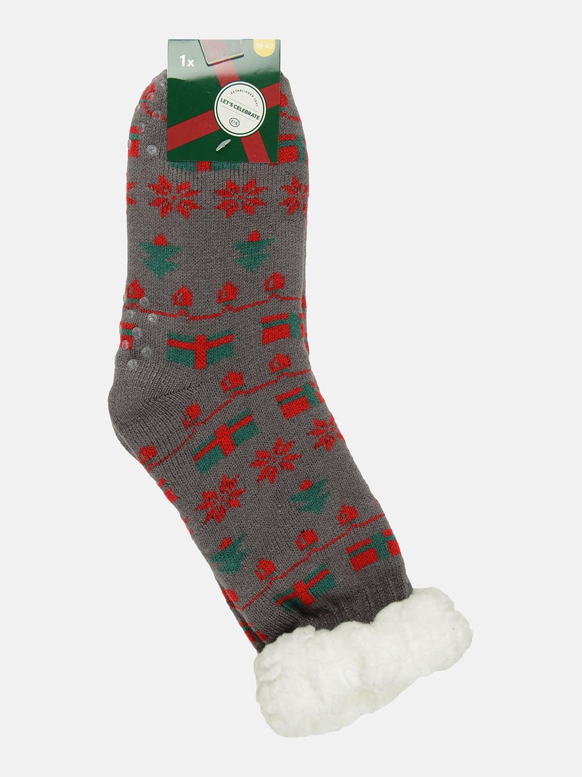 Носки серые с принтом | 5631712