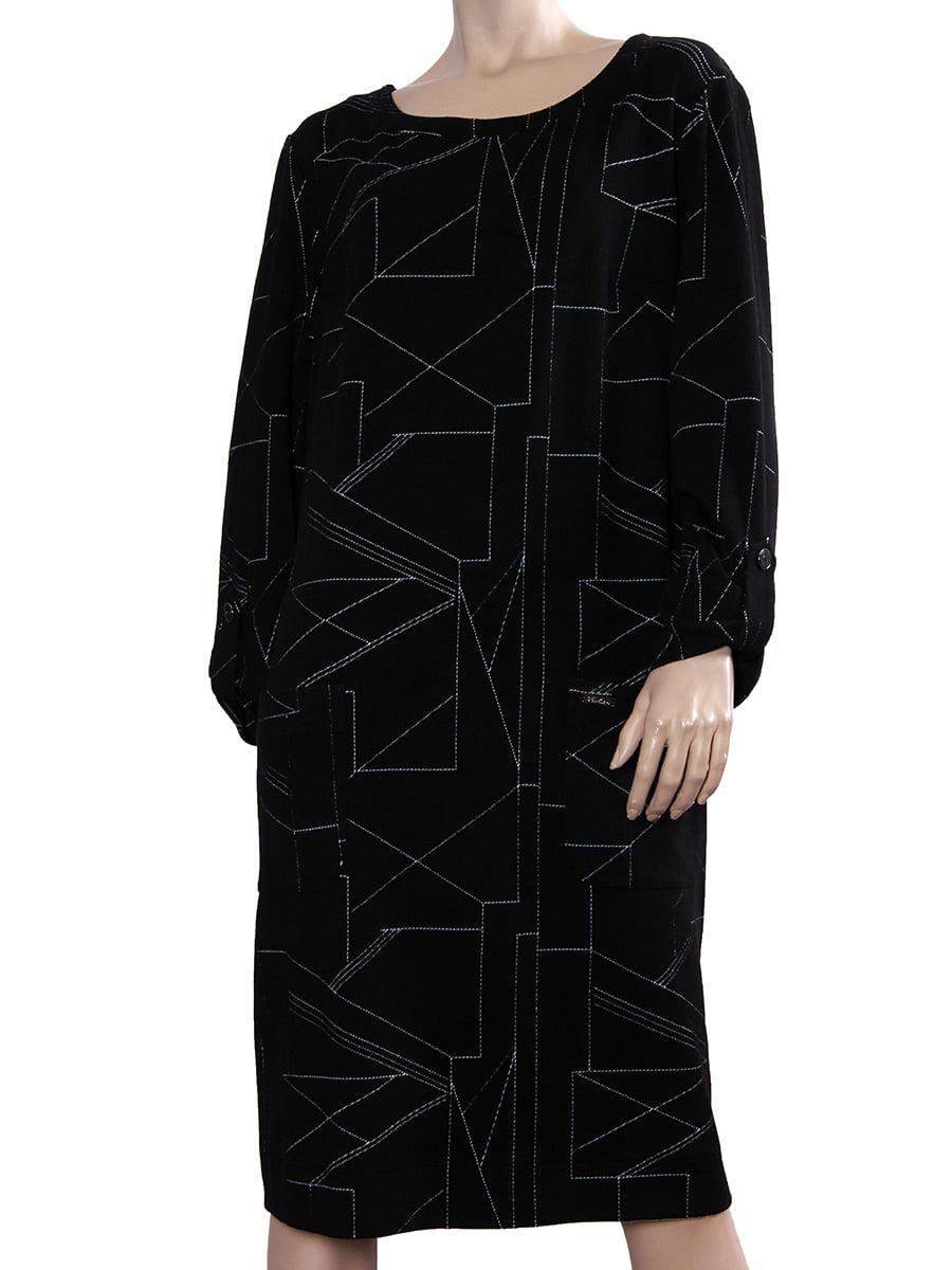 Платье черное с геометрическим принтом | 5641102