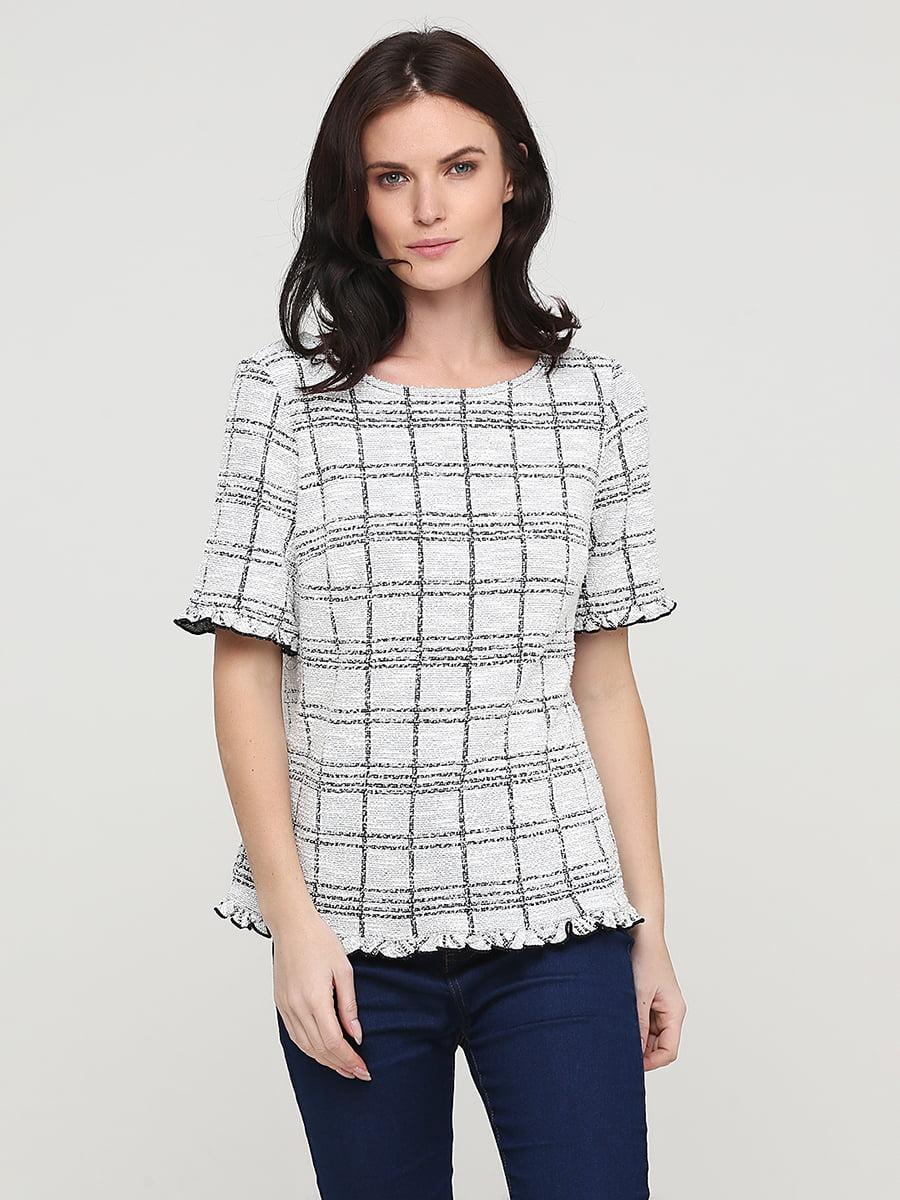 Блуза молочного кольору в клітинку | 5641571