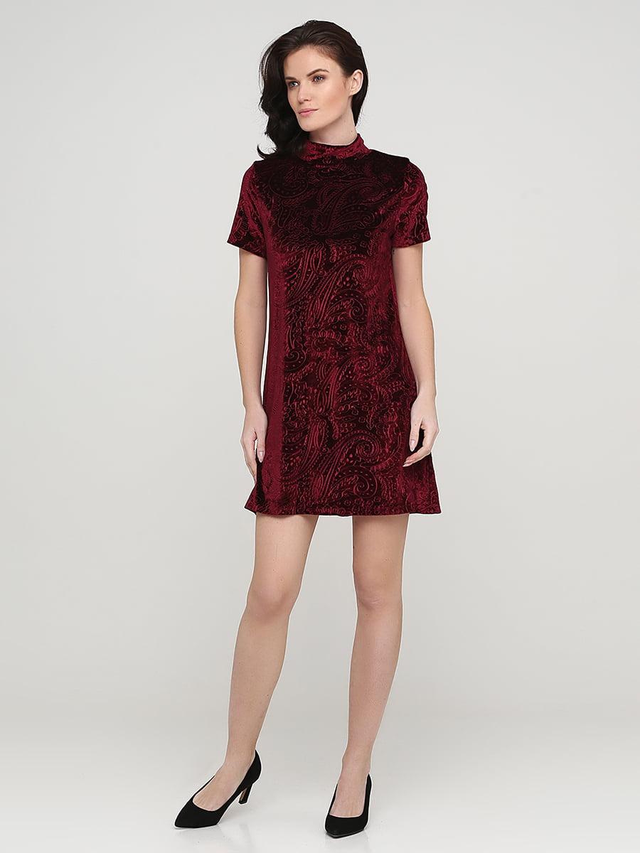 Платье бордовое с узором | 5641740