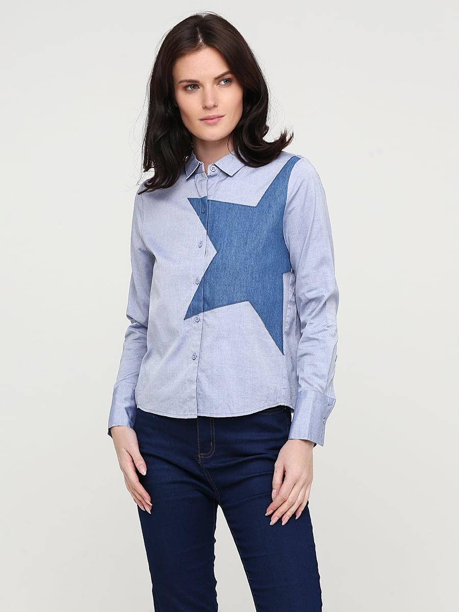 Рубашка голубая с принтом | 5641801