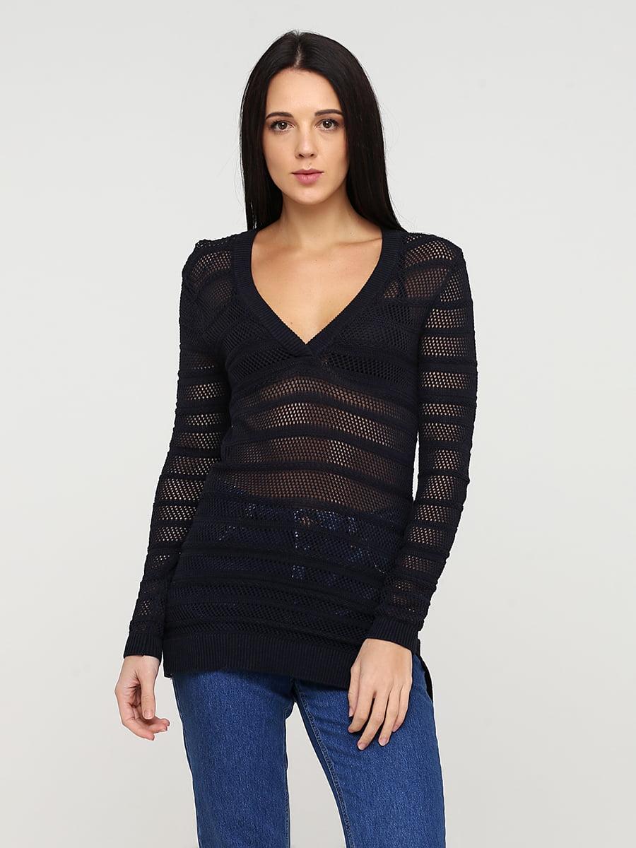 Пуловер темно-синій в смужку | 5641805