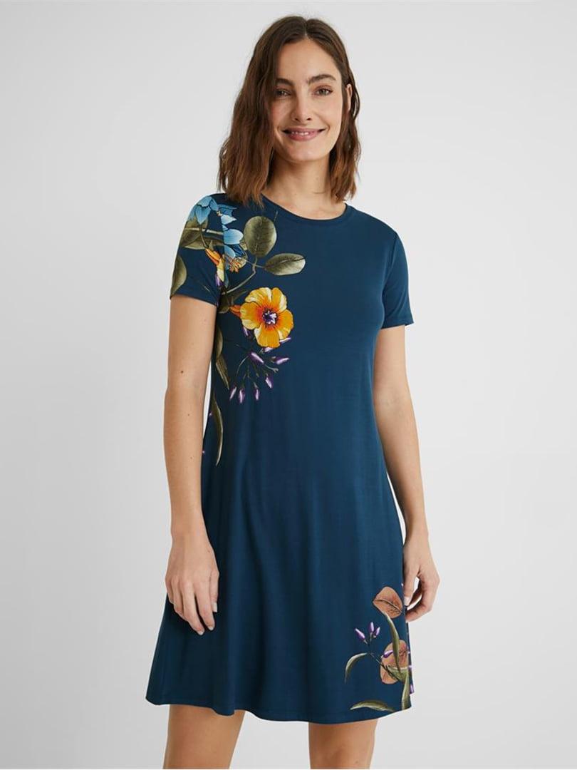 Платье синее в цветочный принт | 5636014