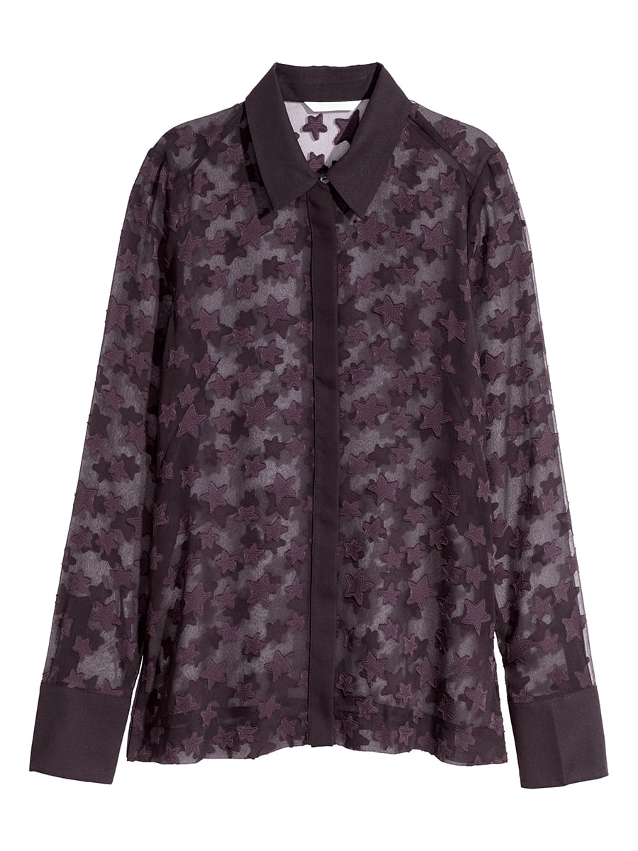 Блуза сливового кольору з принтом | 5652540