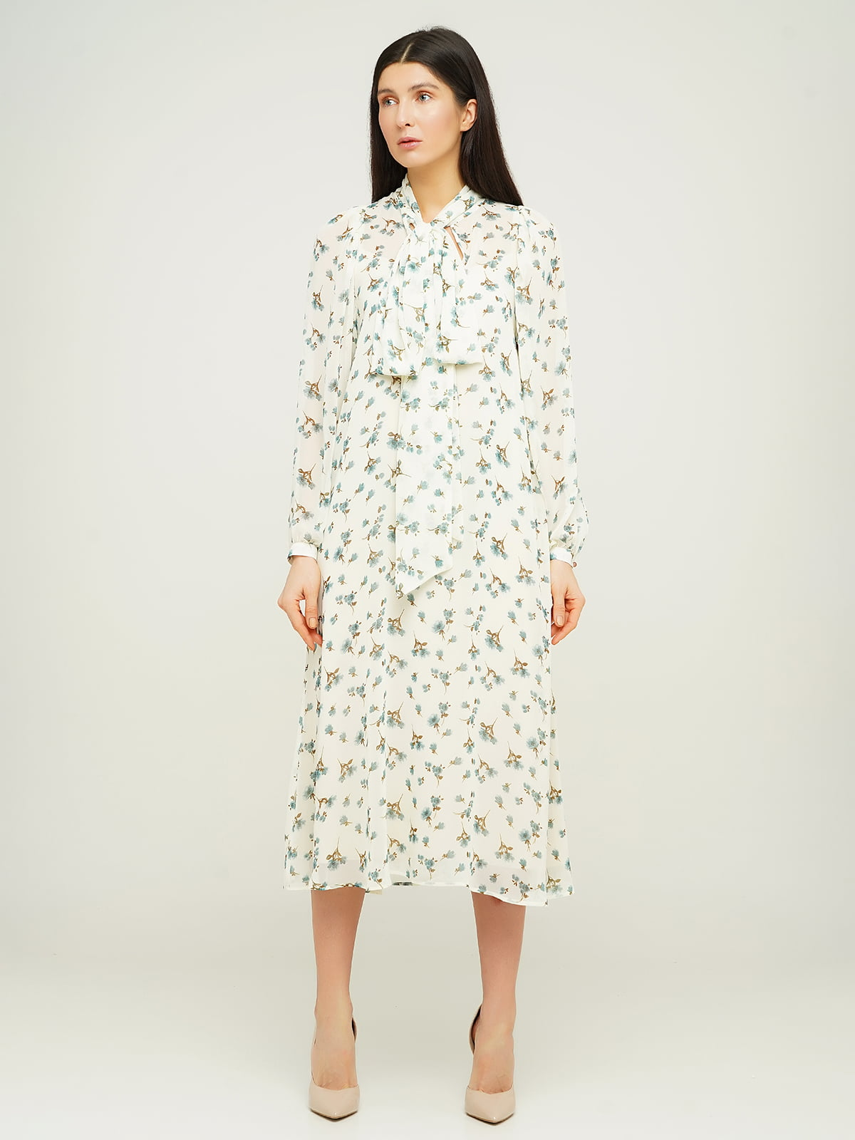 Платье белое в принт | 5656188