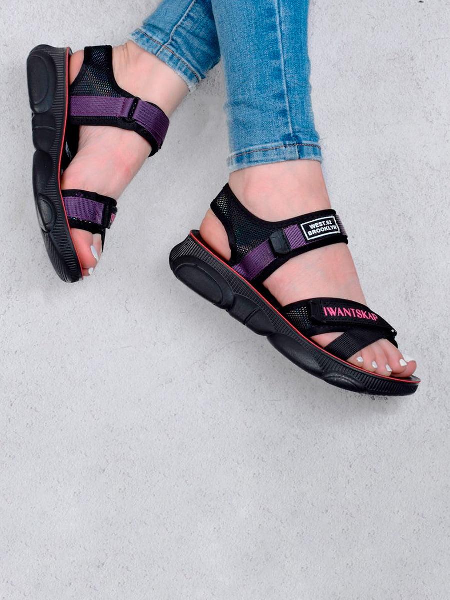 Сандалии фиолетово-черные с логотипом   5657278