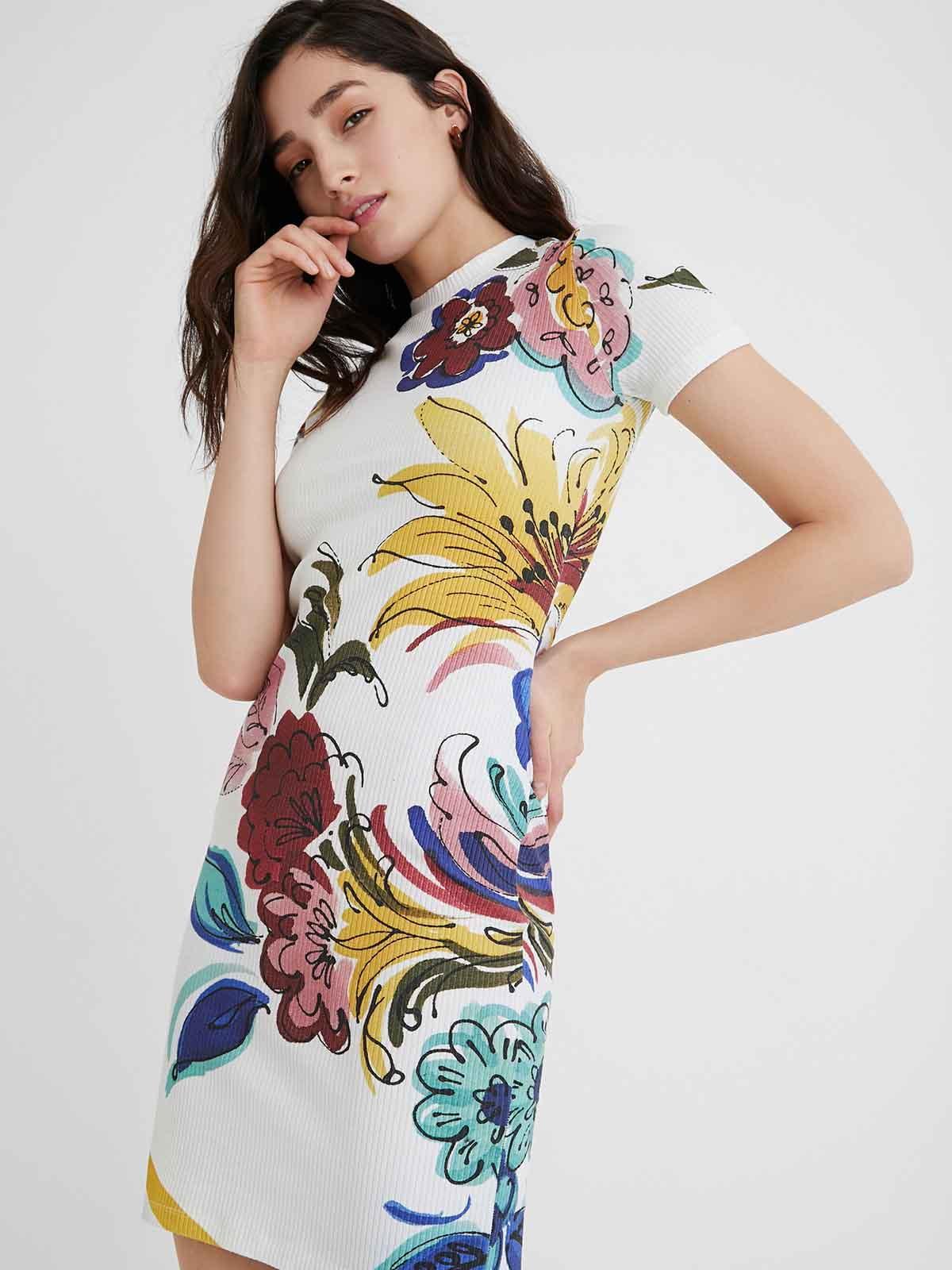 Платье белое в принт | 5636012