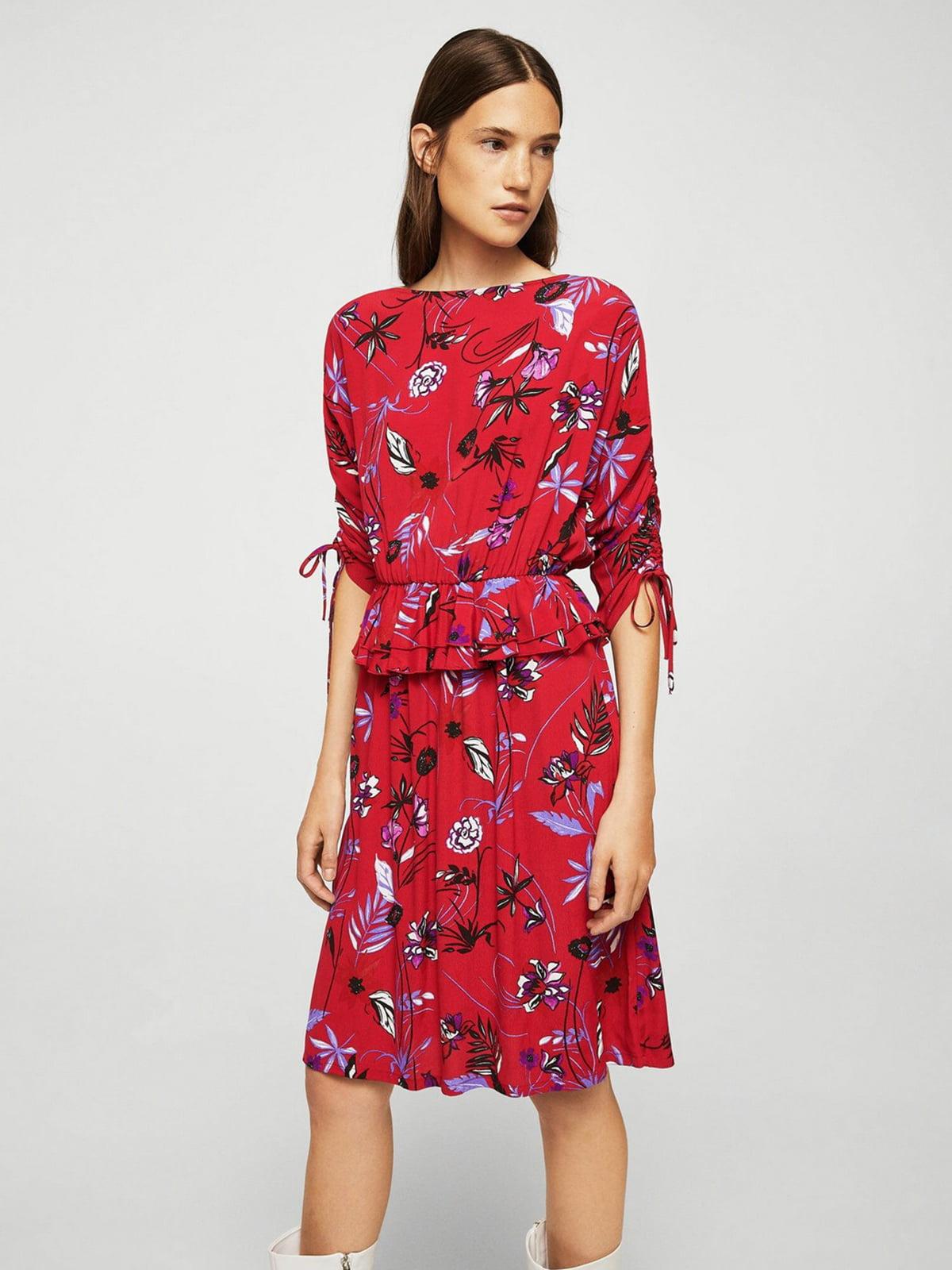 Платье красное в цветочный принт | 5517532