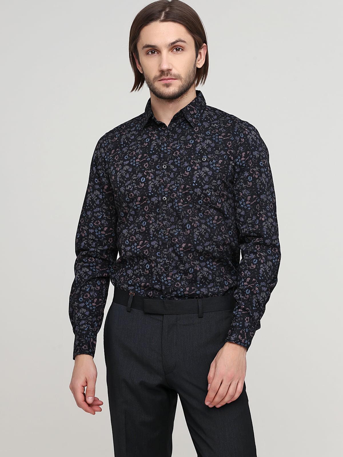Рубашка черная в цветочный принт | 5658246