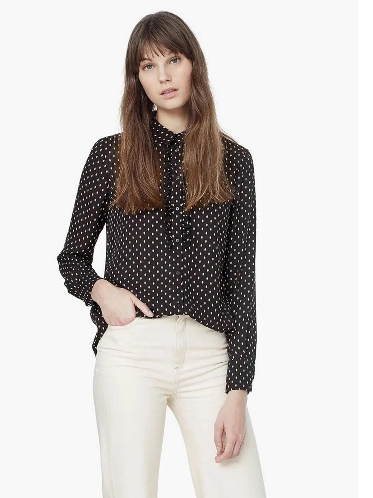 Рубашка черная в горошек | 5658251