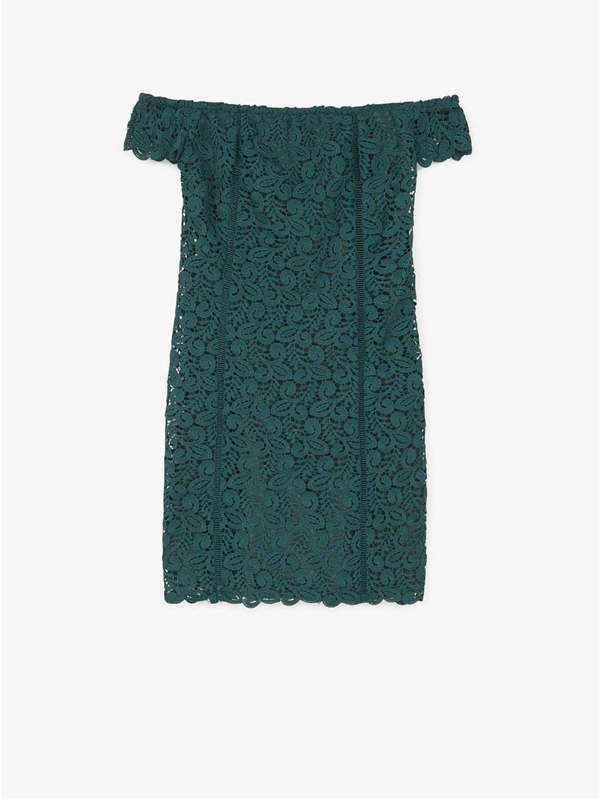 Платье зеленого цвета с узором | 5658829