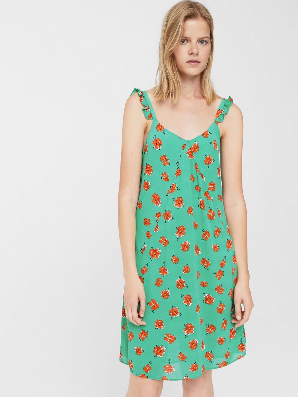 Платье бирюзового цвета в цветочный принт | 5658831
