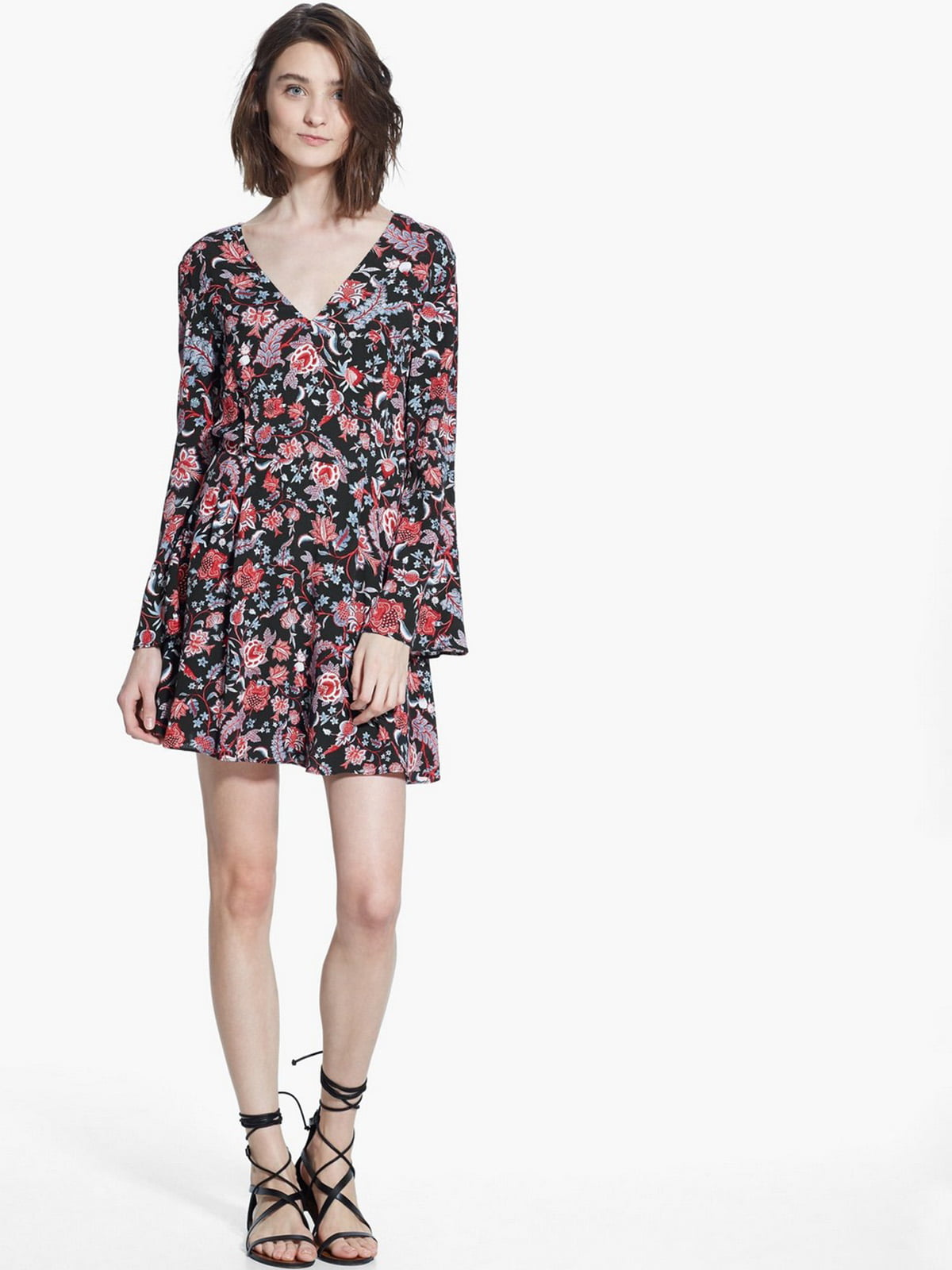Сукня чорна в квітковий принт | 5658934