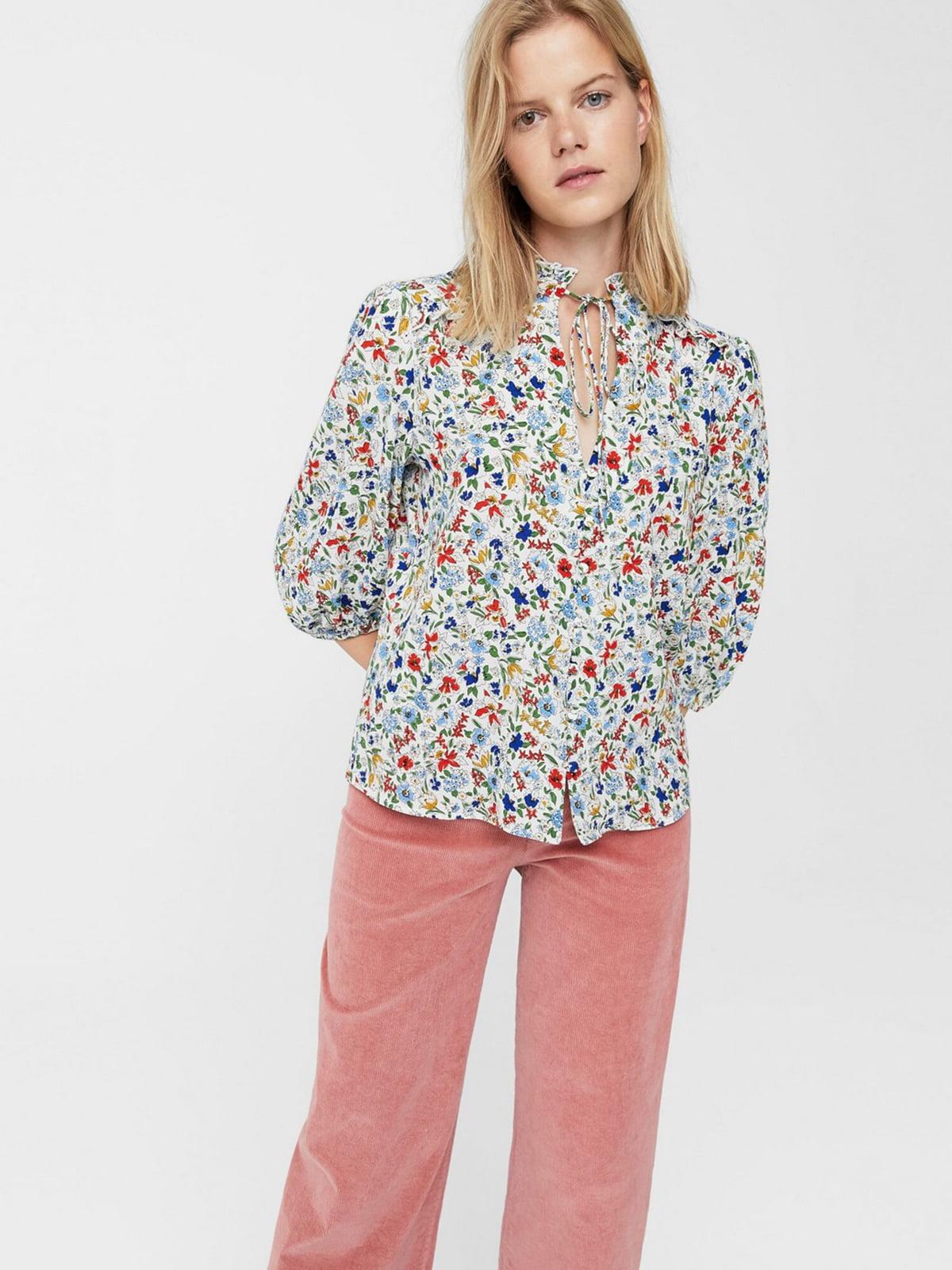 Блуза белая в цветочный принт | 5659155