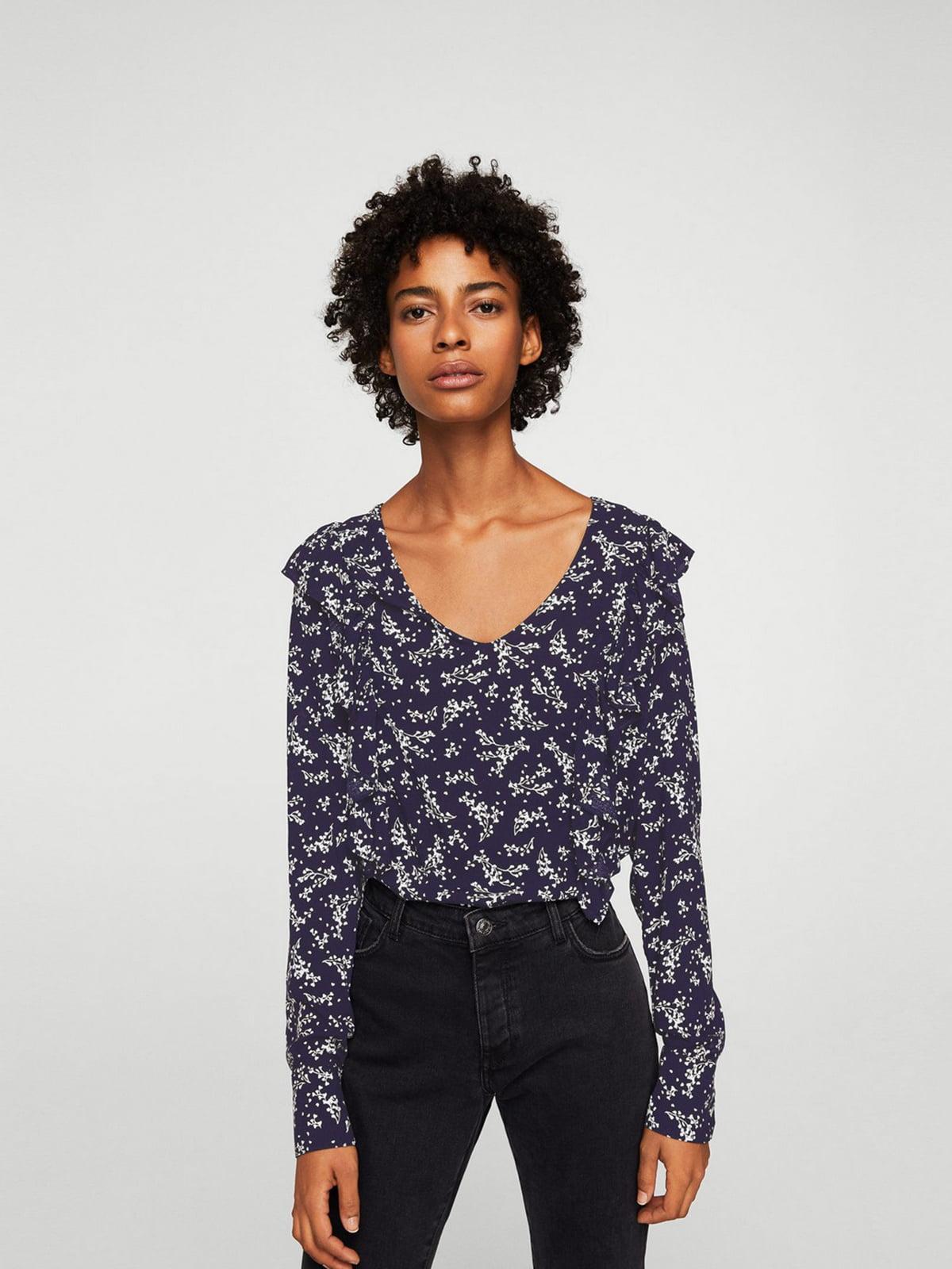 Блуза синяя в цветочный принт | 5659187
