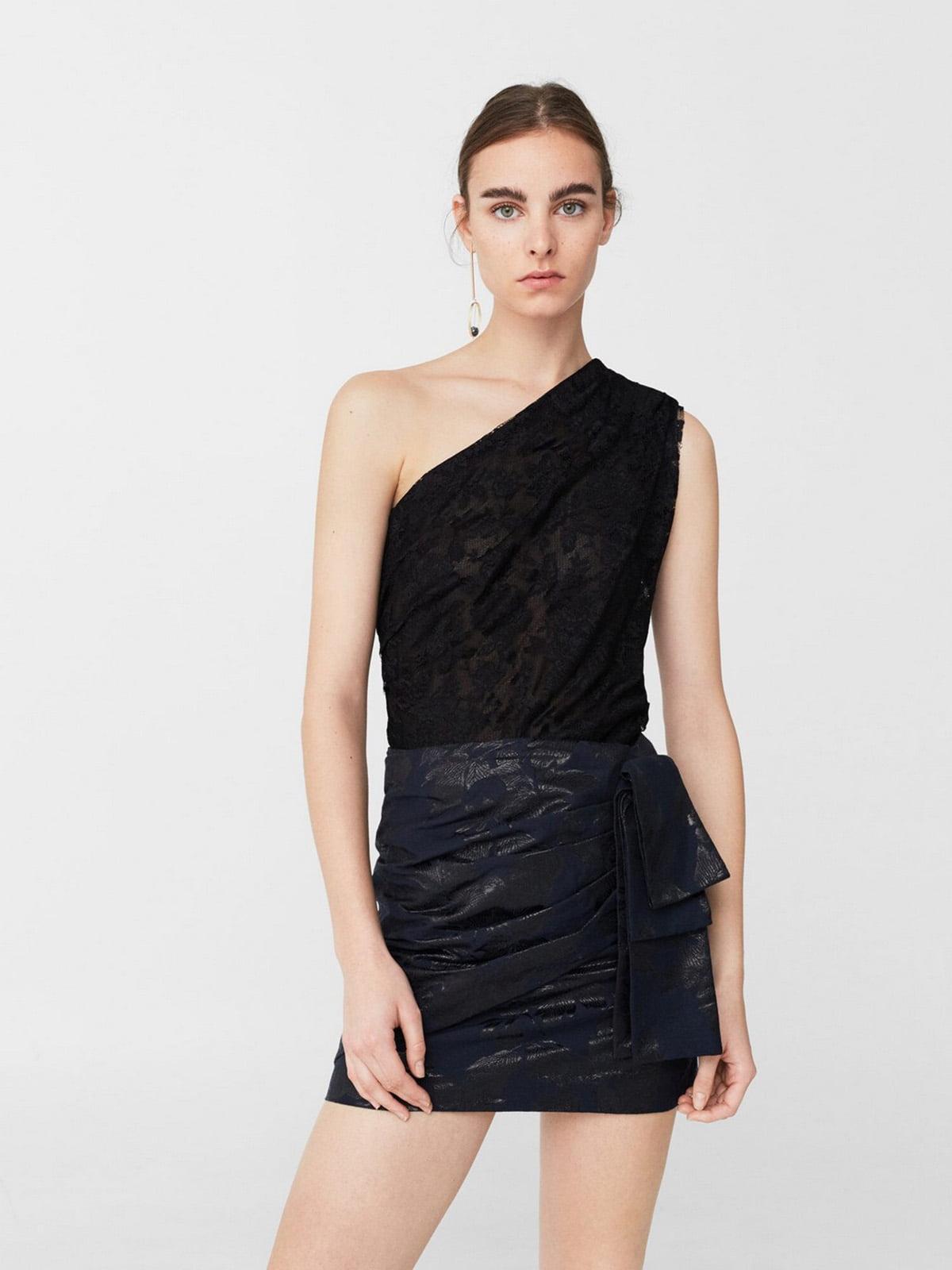Блуза-топ черная с узором | 5659213