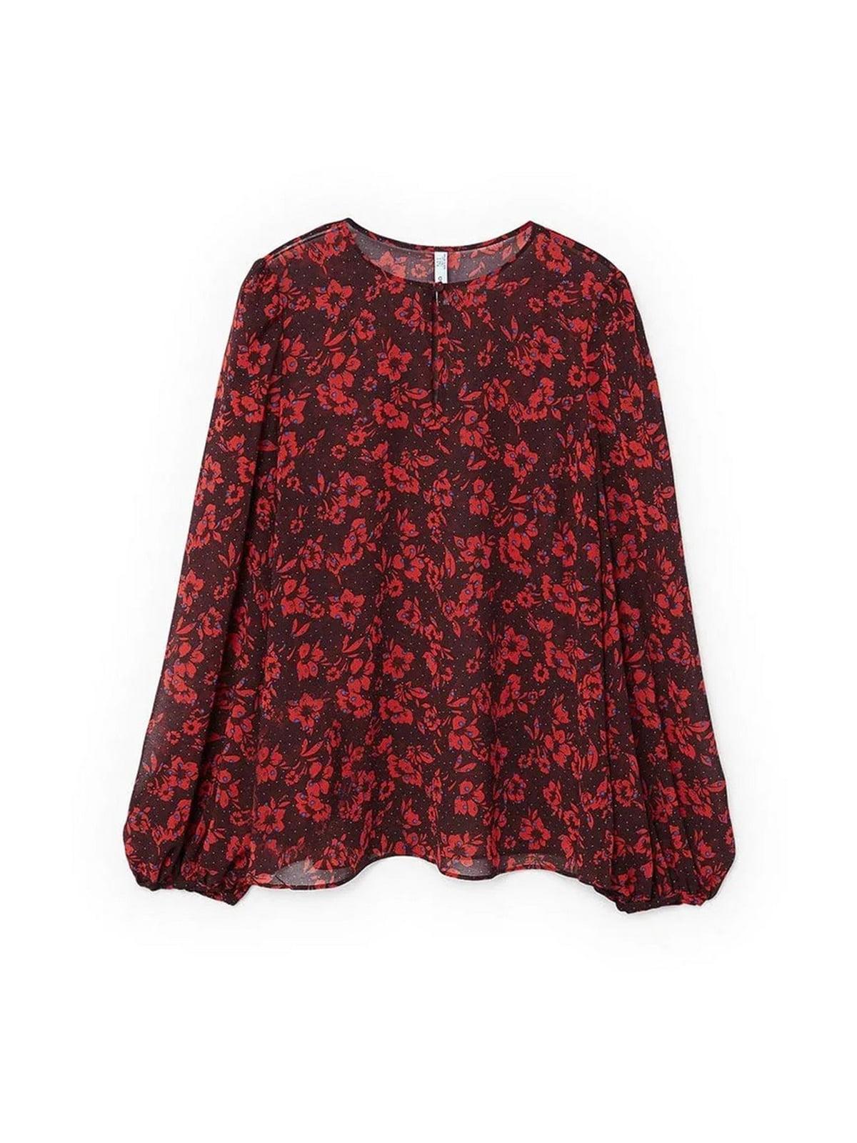 Блуза бордова в квітковий принт   5659237