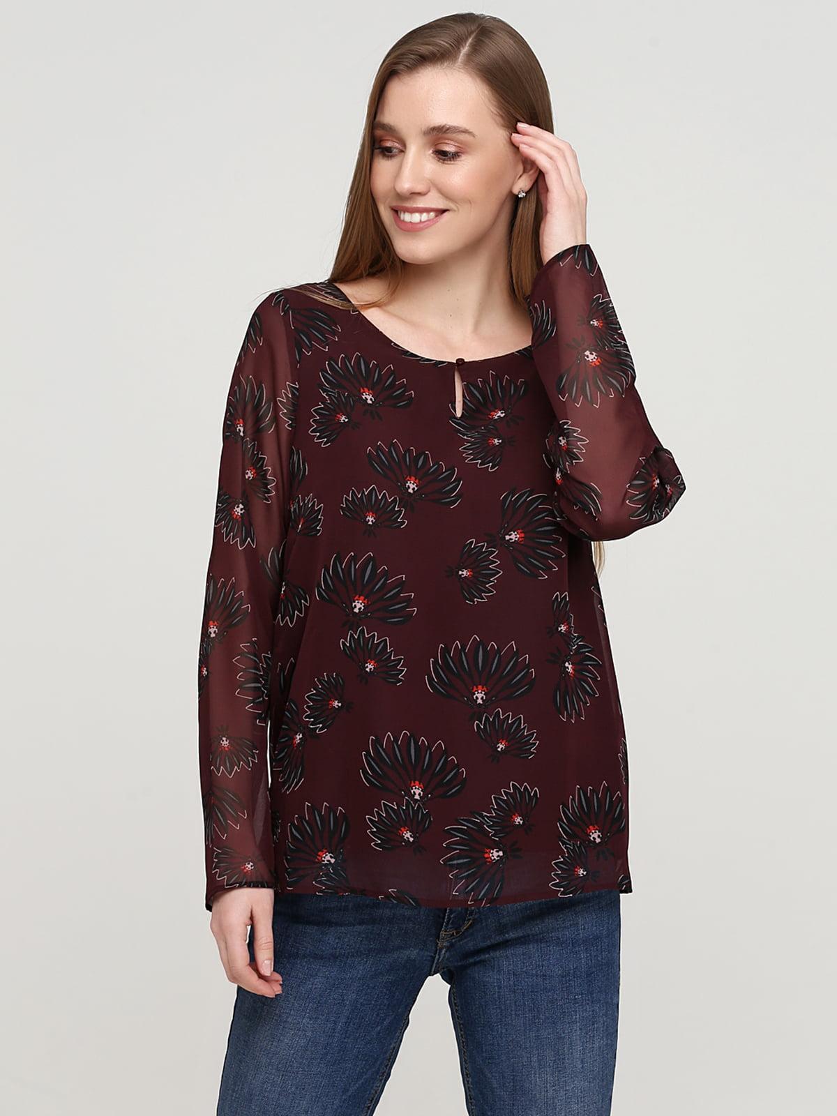Блуза бордова в квітковий принт | 5659346