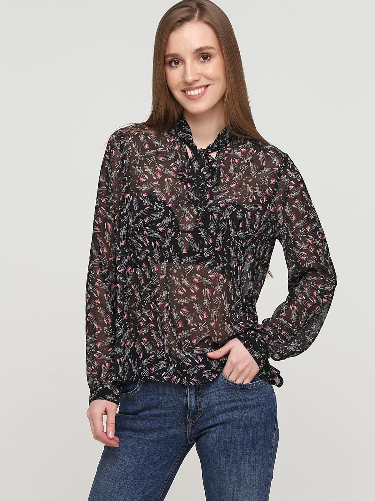 Блуза чорна в квітковий принт | 5659349