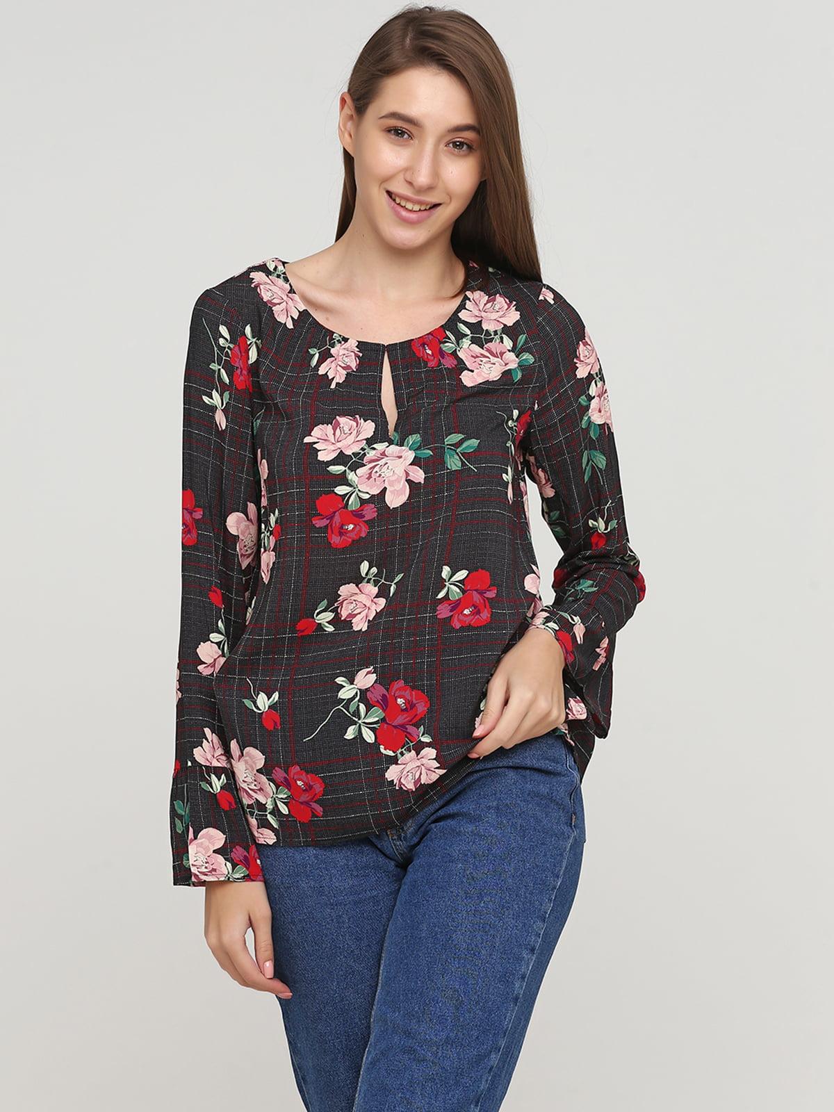 Блуза в клетку и в цветочный принт   5659361