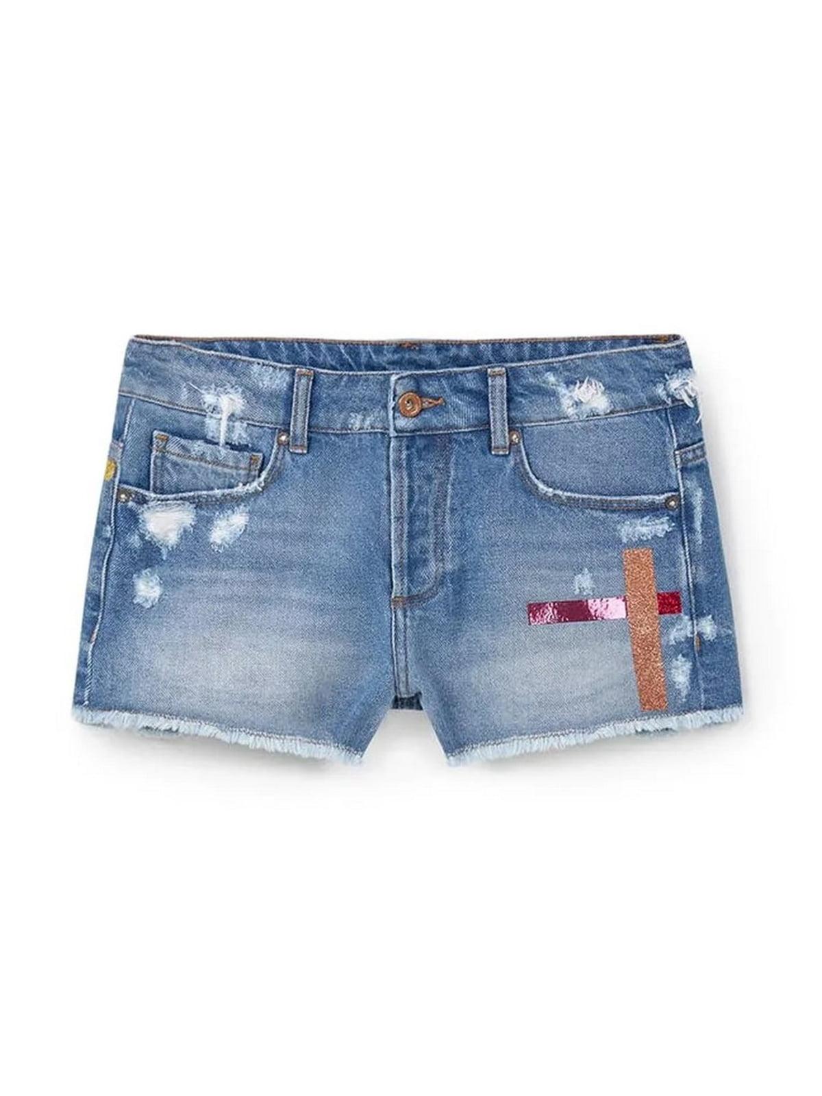 Шорты джинсовые синие с декором | 5659621