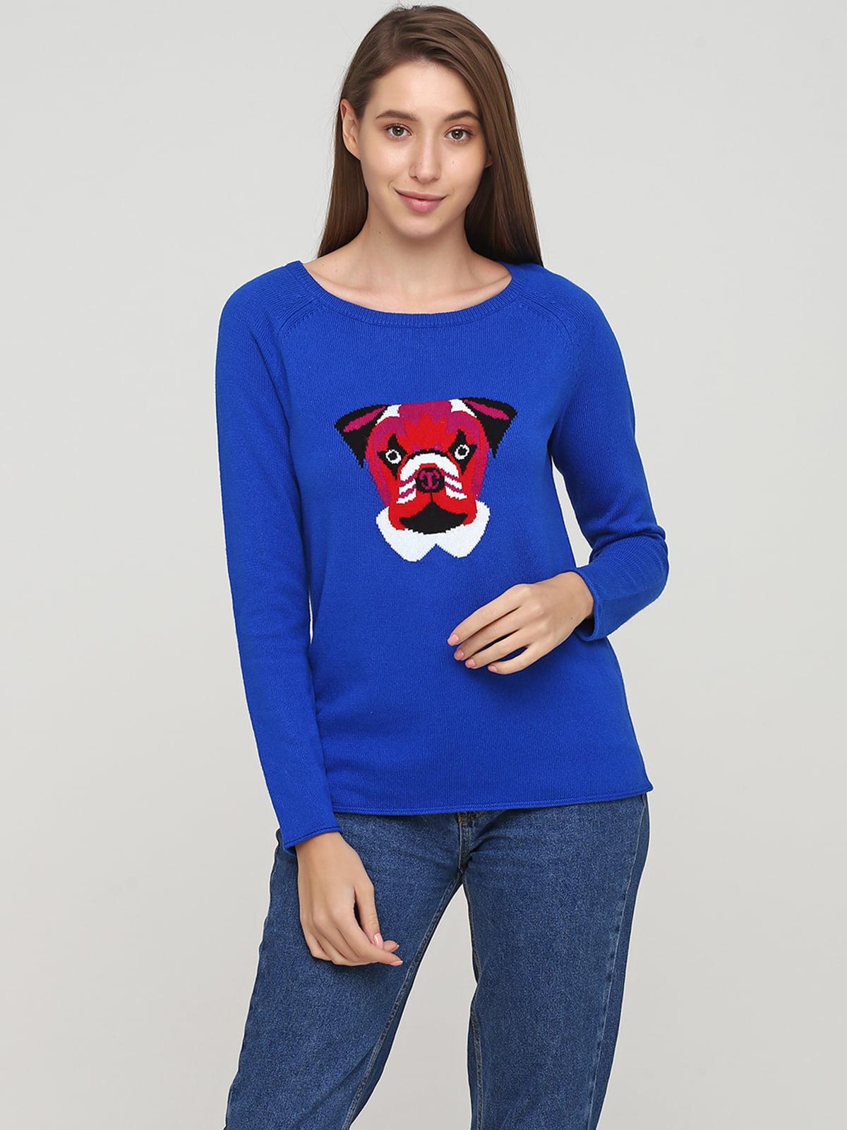 Джемпер синий с рисунком | 5660355