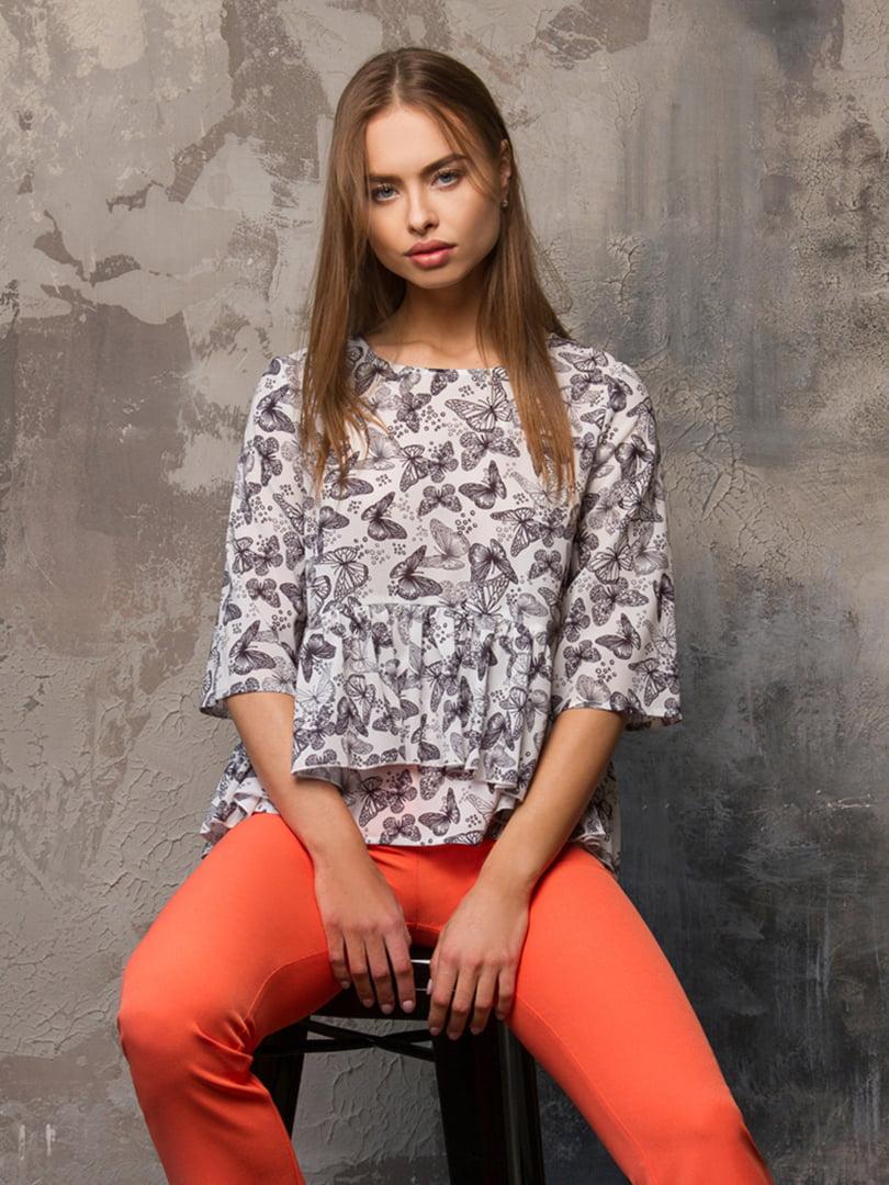 Блуза белая в принт | 5115708